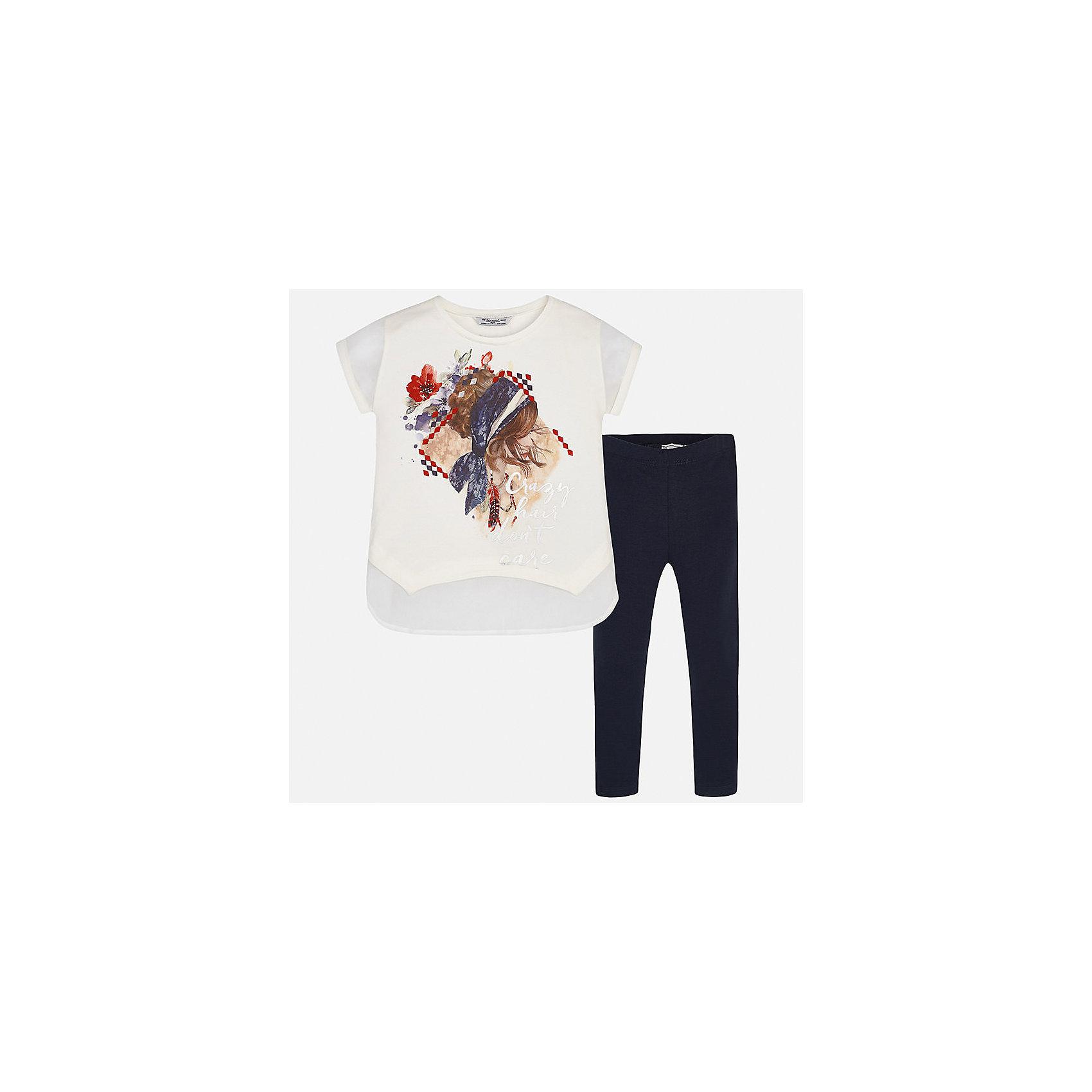 Комплект: футболка с длинным рукавом и леггинсы для девочки MayoralКомплекты<br>Характеристики товара:<br><br>• цвет: белый/темно-синий<br>• состав: 95% хлопок, 5% эластан<br>• комплектация: футболка, леггинсы<br>• футболка декорирована принтом <br>• леггинсы однотонные<br>• пояс на резинке<br>• страна бренда: Испания<br><br>Красивый качественный комплект для девочки поможет разнообразить гардероб ребенка и удобно одеться в теплую погоду. Он отлично сочетается с другими предметами. Универсальный цвет позволяет подобрать к вещам верхнюю одежду практически любой расцветки. Интересная отделка модели делает её нарядной и оригинальной. В составе материала - натуральный хлопок, гипоаллергенный, приятный на ощупь, дышащий.<br><br>Одежда, обувь и аксессуары от испанского бренда Mayoral полюбились детям и взрослым по всему миру. Модели этой марки - стильные и удобные. Для их производства используются только безопасные, качественные материалы и фурнитура. Порадуйте ребенка модными и красивыми вещами от Mayoral! <br><br>Комплект для девочки от испанского бренда Mayoral (Майорал) можно купить в нашем интернет-магазине.<br><br>Ширина мм: 123<br>Глубина мм: 10<br>Высота мм: 149<br>Вес г: 209<br>Цвет: синий<br>Возраст от месяцев: 108<br>Возраст до месяцев: 120<br>Пол: Женский<br>Возраст: Детский<br>Размер: 140,152,158,128/134,164<br>SKU: 5300908