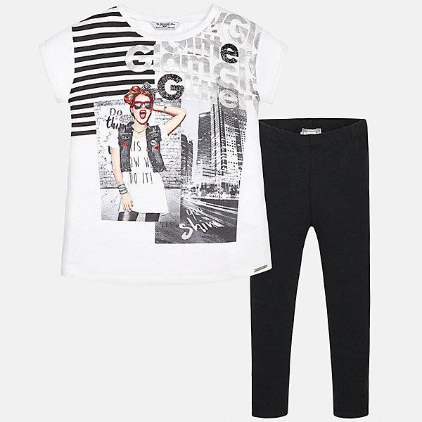 Комплект: футболка с длинным рукавом и леггинсы для девочки MayoralКомплекты<br>Характеристики товара:<br><br>• цвет: белый принт/черный<br>• состав: 100% вискоза<br>• комплектация: футболка, леггинсы<br>• футболка декорирована принтом <br>• леггинсы однотонные<br>• пояс на резинке<br>• страна бренда: Испания<br><br>Красивый качественный комплект для девочки поможет разнообразить гардероб ребенка и удобно одеться в теплую погоду. Он отлично сочетается с другими предметами. Универсальный цвет позволяет подобрать к вещам верхнюю одежду практически любой расцветки. Интересная отделка модели делает её нарядной и оригинальной. <br><br>Одежда, обувь и аксессуары от испанского бренда Mayoral полюбились детям и взрослым по всему миру. Модели этой марки - стильные и удобные. Для их производства используются только безопасные, качественные материалы и фурнитура. Порадуйте ребенка модными и красивыми вещами от Mayoral! <br><br>Комплект для девочки от испанского бренда Mayoral (Майорал) можно купить в нашем интернет-магазине.<br>Ширина мм: 123; Глубина мм: 10; Высота мм: 149; Вес г: 209; Цвет: черный; Возраст от месяцев: 84; Возраст до месяцев: 96; Пол: Женский; Возраст: Детский; Размер: 128/134,170,164,158,152,140; SKU: 5300914;