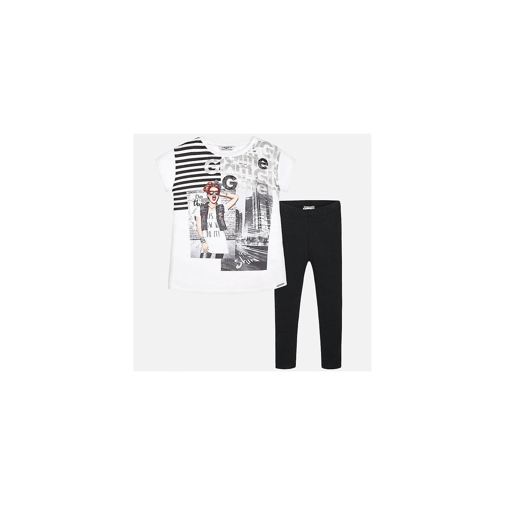 Комплект: футболка с длинным рукавом и леггинсы для девочки MayoralКомплекты<br>Характеристики товара:<br><br>• цвет: белый принт/черный<br>• состав: 100% вискоза<br>• комплектация: футболка, леггинсы<br>• футболка декорирована принтом <br>• леггинсы однотонные<br>• пояс на резинке<br>• страна бренда: Испания<br><br>Красивый качественный комплект для девочки поможет разнообразить гардероб ребенка и удобно одеться в теплую погоду. Он отлично сочетается с другими предметами. Универсальный цвет позволяет подобрать к вещам верхнюю одежду практически любой расцветки. Интересная отделка модели делает её нарядной и оригинальной. <br><br>Одежда, обувь и аксессуары от испанского бренда Mayoral полюбились детям и взрослым по всему миру. Модели этой марки - стильные и удобные. Для их производства используются только безопасные, качественные материалы и фурнитура. Порадуйте ребенка модными и красивыми вещами от Mayoral! <br><br>Комплект для девочки от испанского бренда Mayoral (Майорал) можно купить в нашем интернет-магазине.<br><br>Ширина мм: 123<br>Глубина мм: 10<br>Высота мм: 149<br>Вес г: 209<br>Цвет: черный<br>Возраст от месяцев: 168<br>Возраст до месяцев: 180<br>Пол: Женский<br>Возраст: Детский<br>Размер: 170,128/134,140,152,158,164<br>SKU: 5300914