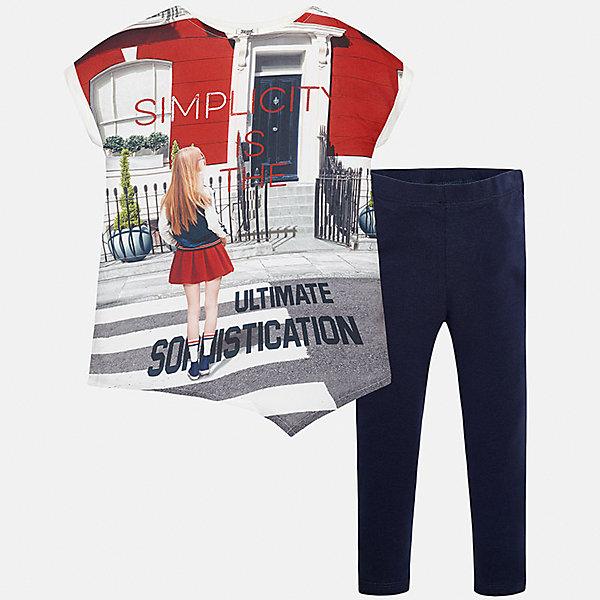 Комплект: футболка с длинным рукавом и леггинсы для девочки MayoralКомплекты<br>Характеристики товара:<br><br>• цвет: мультиколор/темно-синий<br>• состав: 50% полиэстер, 48% вискоза, 2% эластан<br>• комплектация: футболка, леггинсы<br>• футболка декорирована принтом <br>• леггинсы однотонные<br>• пояс на резинке<br>• страна бренда: Испания<br><br>Красивый качественный комплект для девочки поможет разнообразить гардероб ребенка и удобно одеться в теплую погоду. Он отлично сочетается с другими предметами. Универсальный цвет позволяет подобрать к вещам верхнюю одежду практически любой расцветки. Интересная отделка модели делает её нарядной и оригинальной. <br><br>Одежда, обувь и аксессуары от испанского бренда Mayoral полюбились детям и взрослым по всему миру. Модели этой марки - стильные и удобные. Для их производства используются только безопасные, качественные материалы и фурнитура. Порадуйте ребенка модными и красивыми вещами от Mayoral! <br><br>Комплект для девочки от испанского бренда Mayoral (Майорал) можно купить в нашем интернет-магазине.<br><br>Ширина мм: 123<br>Глубина мм: 10<br>Высота мм: 149<br>Вес г: 209<br>Цвет: синий<br>Возраст от месяцев: 84<br>Возраст до месяцев: 96<br>Пол: Женский<br>Возраст: Детский<br>Размер: 128/134,158,140,152<br>SKU: 5300921