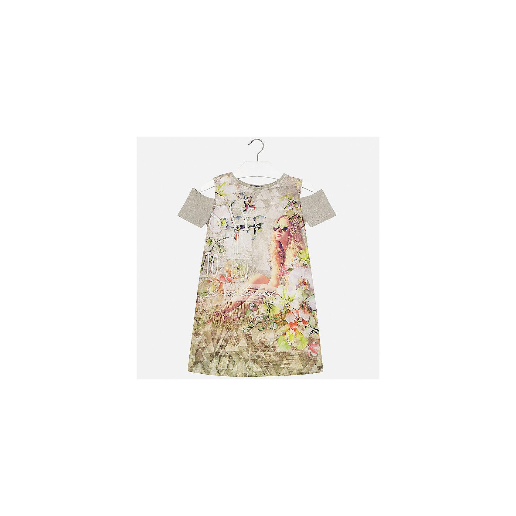 Платье для девочки MayoralХарактеристики товара:<br><br>• цвет: мультиколор<br>• состав: 44% вискоза, 40% полиэстер, 10% металлизированная нить, 6% хлопок<br>• без застежки<br>• открытые плечи<br>• короткие рукава<br>• декорировано принтом<br>• страна бренда: Испания<br><br>Модное платье для девочки поможет разнообразить гардероб ребенка и создать эффектный наряд. Оно подойдет для различных случаев. Красивый оттенок позволяет подобрать к вещи обувь разных расцветок. Платье хорошо сидит по фигуре. <br><br>Одежда, обувь и аксессуары от испанского бренда Mayoral полюбились детям и взрослым по всему миру. Модели этой марки - стильные и удобные. Для их производства используются только безопасные, качественные материалы и фурнитура. Порадуйте ребенка модными и красивыми вещами от Mayoral! <br><br>Платье для девочки от испанского бренда Mayoral (Майорал) можно купить в нашем интернет-магазине.<br><br>Ширина мм: 236<br>Глубина мм: 16<br>Высота мм: 184<br>Вес г: 177<br>Цвет: зеленый<br>Возраст от месяцев: 168<br>Возраст до месяцев: 180<br>Пол: Женский<br>Возраст: Детский<br>Размер: 140,170,152,158,164,128/134<br>SKU: 5300945