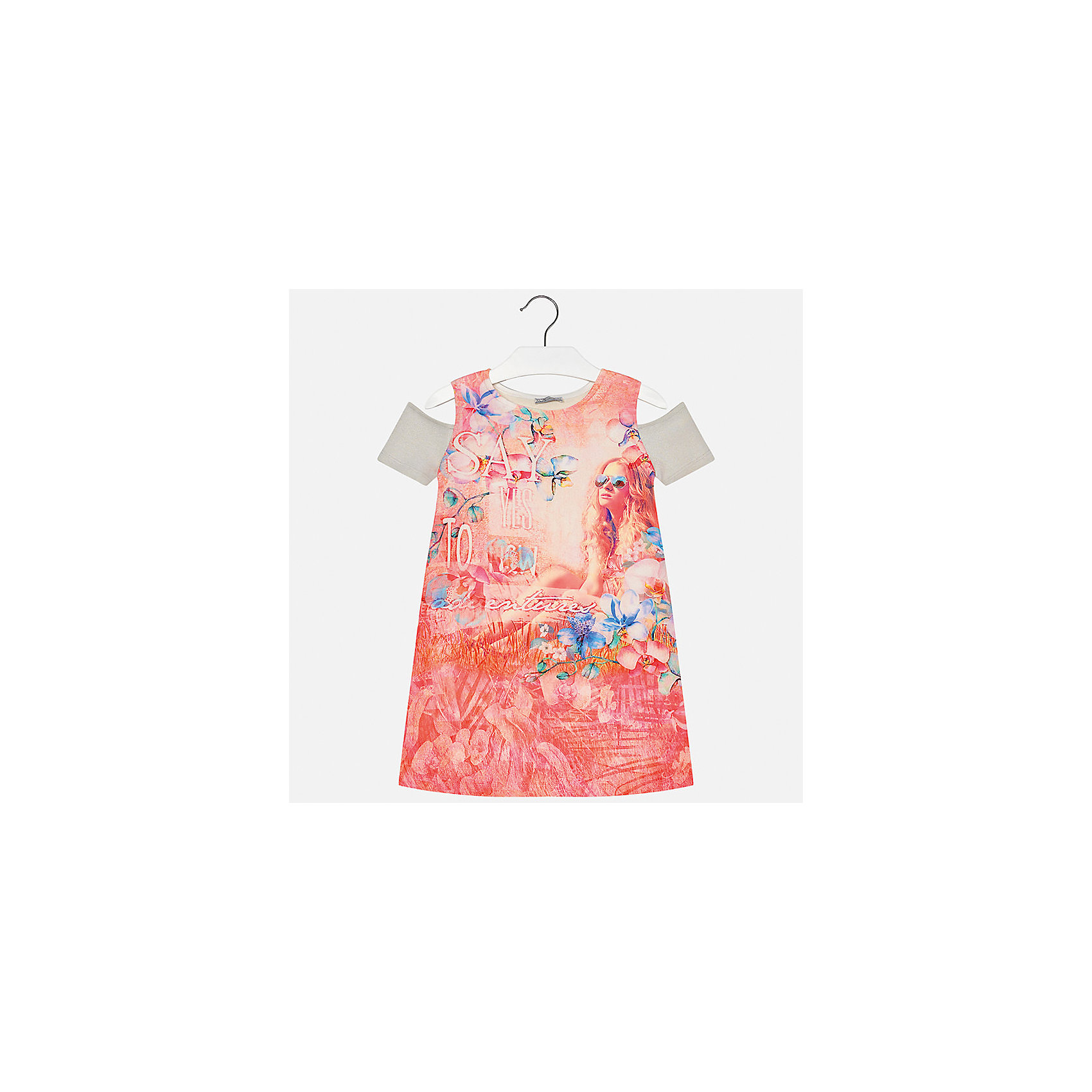 Платье для девочки MayoralПлатья и сарафаны<br>Характеристики товара:<br><br>• цвет: оранжевый<br>• состав: 44% вискоза, 40% полиэстер, 10% металлизированная нить, 6% хлопок<br>• без застежки<br>• открытые плечи<br>• короткие рукава<br>• декорировано принтом<br>• страна бренда: Испания<br><br>Модное платье для девочки поможет разнообразить гардероб ребенка и создать эффектный наряд. Оно подойдет для различных случаев. Красивый оттенок позволяет подобрать к вещи обувь разных расцветок. Платье хорошо сидит по фигуре. <br><br>Платье для девочки от испанского бренда Mayoral (Майорал) можно купить в нашем интернет-магазине.<br><br>Ширина мм: 236<br>Глубина мм: 16<br>Высота мм: 184<br>Вес г: 177<br>Цвет: розовый<br>Возраст от месяцев: 84<br>Возраст до месяцев: 96<br>Пол: Женский<br>Возраст: Детский<br>Размер: 128/134,170,140,152,158,164<br>SKU: 5300952