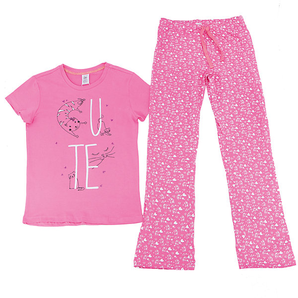 Пижама для девочки SELAПижамы и сорочки<br>Характеристики товара:<br><br>• цвет: розовый<br>• состав: 100% хлопок<br>• комплектация: футболка, брюки<br>• короткие рукава<br>• принт<br>• пояс: мягкая резинка и шнурок<br>• коллекция весна-лето 2017<br>• страна бренда: Российская Федерация<br>• страна производства: Индия<br><br>Вещи из новой коллекции SELA продолжают радовать удобством! Симпатичная пижама поможет обеспечить ребенку комфорт - она очень удобно сидит на теле. В составе материала - натуральный хлопок. Отличная одежда для комфортного сна!<br><br>Одежда, обувь и аксессуары от российского бренда SELA не зря пользуются большой популярностью у детей и взрослых! Модели этой марки - стильные и удобные, цена при этом неизменно остается доступной. Для их производства используются только безопасные, качественные материалы и фурнитура. Новая коллекция поддерживает хорошие традиции бренда! <br><br>Пижаму для девочки от популярного бренда SELA (СЕЛА) можно купить в нашем интернет-магазине.<br>Ширина мм: 281; Глубина мм: 70; Высота мм: 188; Вес г: 295; Цвет: розовый; Возраст от месяцев: 72; Возраст до месяцев: 84; Пол: Женский; Возраст: Детский; Размер: 116/122,140/146,128/134,104/110,92/98; SKU: 5302857;