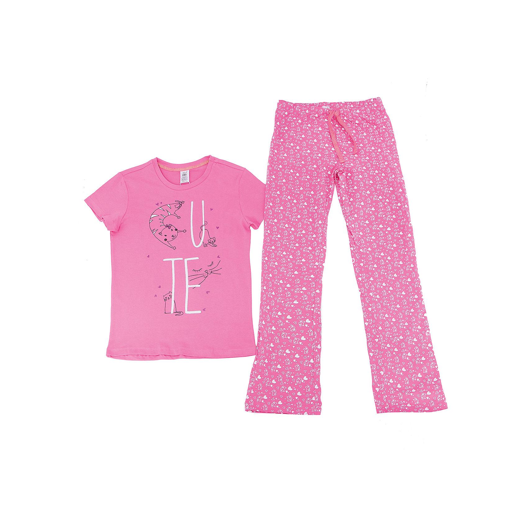 Пижама для девочки SELAПижамы и сорочки<br>Характеристики товара:<br><br>• цвет: розовый<br>• состав: 100% хлопок<br>• комплектация: футболка, брюки<br>• короткие рукава<br>• принт<br>• пояс: мягкая резинка и шнурок<br>• коллекция весна-лето 2017<br>• страна бренда: Российская Федерация<br>• страна производства: Индия<br><br>Вещи из новой коллекции SELA продолжают радовать удобством! Симпатичная пижама поможет обеспечить ребенку комфорт - она очень удобно сидит на теле. В составе материала - натуральный хлопок. Отличная одежда для комфортного сна!<br><br>Одежда, обувь и аксессуары от российского бренда SELA не зря пользуются большой популярностью у детей и взрослых! Модели этой марки - стильные и удобные, цена при этом неизменно остается доступной. Для их производства используются только безопасные, качественные материалы и фурнитура. Новая коллекция поддерживает хорошие традиции бренда! <br><br>Пижаму для девочки от популярного бренда SELA (СЕЛА) можно купить в нашем интернет-магазине.<br><br>Ширина мм: 281<br>Глубина мм: 70<br>Высота мм: 188<br>Вес г: 295<br>Цвет: розовый<br>Возраст от месяцев: 24<br>Возраст до месяцев: 36<br>Пол: Женский<br>Возраст: Детский<br>Размер: 92/98,128/134,140/146,104/110,116/122<br>SKU: 5302857