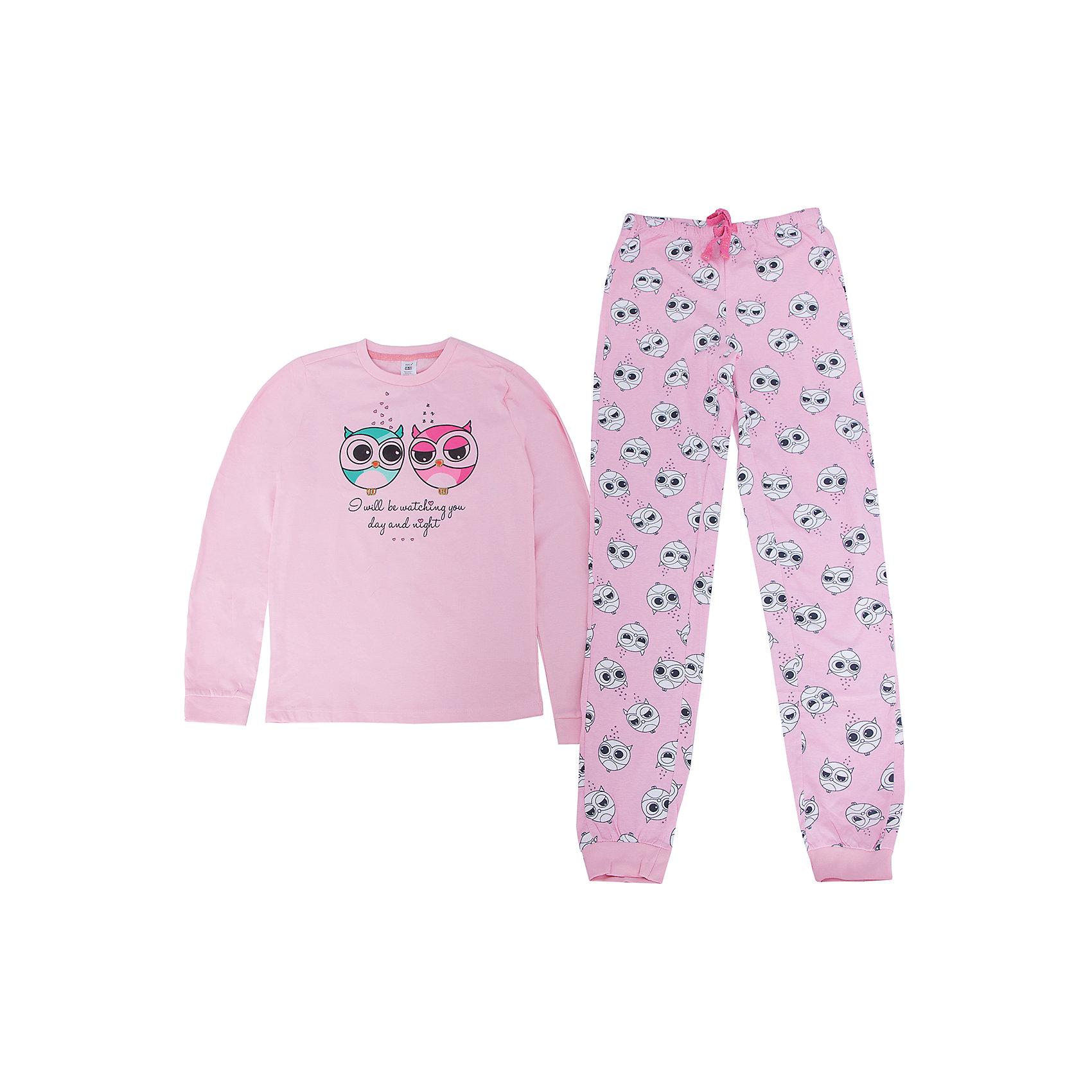 Пижама для девочки SELAПижамы и сорочки<br>Пижама для девочки SELA<br><br>Характеристики:<br><br>- цвет: розовый<br>- в комплект входит: штаны, кофта<br>- свободный силуэт<br>- эластичные манжеты<br>- состав: хлопок 100%<br>- для детей в возрасте: от 2 до 6 лет<br>- страна производитель: Индия<br><br>Нежная пижама светло-розового цвета из новой коллекции весна 2017 от популярного бренда одежды SELA (Сэла). Пижама с симпатичными совятами отлично подойдет для использования на каждый день в прохладное время года. Натуральная хлопчатобумажная ткань изделия отлично пропускает воздух и позволяет коже дышать. Свободный силуэт пижамы обеспечивает необходимый комфорт во время сна. Надпись переводится как «Я буду присматривать за тобой днем и ночью». Добавьте весны в свой гардероб вместе с новой коллекцией! <br><br>Пижаму для девочки SELA можно купить в нашем интернет-магазине.<br><br>Ширина мм: 281<br>Глубина мм: 70<br>Высота мм: 188<br>Вес г: 295<br>Цвет: розовый<br>Возраст от месяцев: 96<br>Возраст до месяцев: 108<br>Пол: Женский<br>Возраст: Детский<br>Размер: 128/134,116/122,92/98,140/146,104/110<br>SKU: 5302863