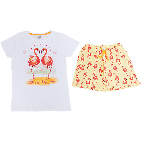 Пижама для девочки SELAПижамы и сорочки<br>Характеристики товара:<br><br>• цвет: белый/жёлтый<br>• состав: 100% хлопок<br>• комплектация: футболка, шорты<br>• короткие рукава<br>• принт<br>• пояс: мягкая резинка и шнурок<br>• страна бренда: Российская Федерация<br><br>Вещи из новой коллекции SELA продолжают радовать удобством! Симпатичная пижама поможет обеспечить ребенку комфорт - она очень удобно сидит на теле. В составе материала - натуральный хлопок. Отличная одежда для комфортного сна!<br><br>Пижаму для девочки от популярного бренда SELA (СЕЛА) можно купить в нашем интернет-магазине.<br><br>Ширина мм: 281<br>Глубина мм: 70<br>Высота мм: 188<br>Вес г: 295<br>Цвет: белый<br>Возраст от месяцев: 48<br>Возраст до месяцев: 60<br>Пол: Женский<br>Возраст: Детский<br>Размер: 104/110,92/98,140/146,128/134,116/122<br>SKU: 5302869
