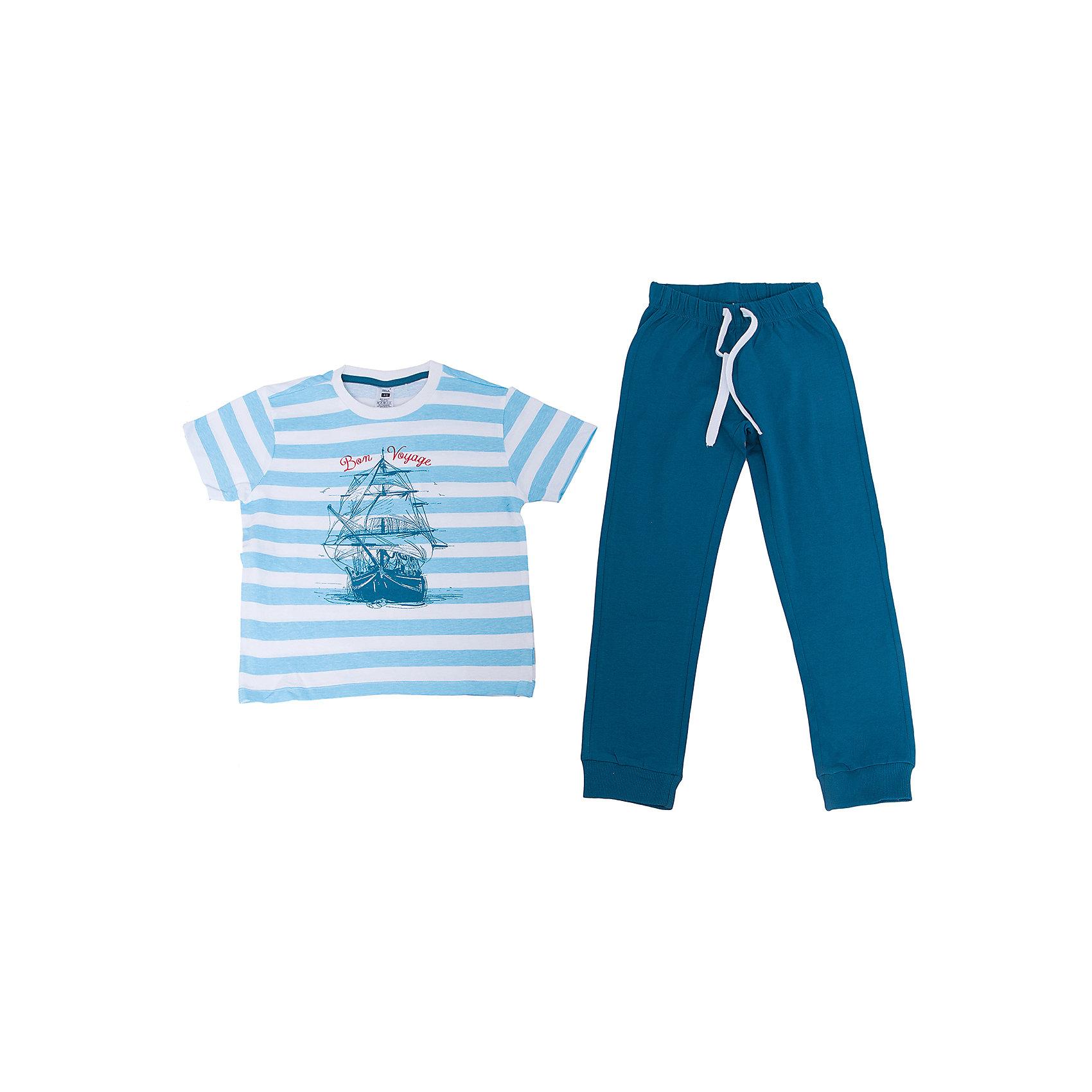 Пижама для мальчика SELAПижама для мальчика SELA<br><br>Характеристики:<br><br>- цвет: синий<br>- в комплект входит: штаны, футболка<br>- свободный силуэт<br>- эластичные манжеты штанов<br>- состав: хлопок 100%<br>- для детей в возрасте: от 2 до 6 лет<br>- страна производитель: Индия<br><br>Яркая пижама синего цвета из новой коллекции весна 2017 от популярного бренда одежды SELA (Сэла). Пижама с большим кораблем отлично подойдет для использования на каждый день в прохладное время года. Натуральная хлопчатобумажная ткань изделия отлично пропускает воздух и позволяет коже дышать. Свободный силуэт пижамы обеспечивает необходимый комфорт во время сна. Морская тематика новой пижамы поможет отправиться на поиски приключений в мир приятных и увлекательных снов. <br><br>Пижаму для мальчика SELA можно купить в нашем интернет-магазине.<br><br>Ширина мм: 281<br>Глубина мм: 70<br>Высота мм: 188<br>Вес г: 295<br>Цвет: синий<br>Возраст от месяцев: 96<br>Возраст до месяцев: 108<br>Пол: Мужской<br>Возраст: Детский<br>Размер: 128/134,140/146,92/98,104/110,116/122<br>SKU: 5302875