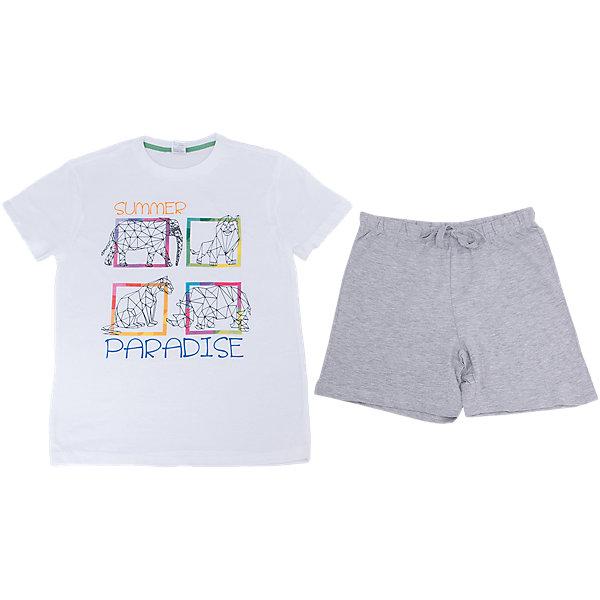 Пижама для мальчика SELAПижамы и сорочки<br>Характеристики товара:<br><br>• цвет: белый/серый<br>• состав: 100% хлопок<br>• комплектация: футболка, шорты<br>• короткие рукава<br>• принт<br>• пояс: мягкая резинка и шнурок<br>• страна бренда: Российская Федерация<br><br>Вещи из новой коллекции SELA продолжают радовать удобством! Симпатичная пижама поможет обеспечить ребенку комфорт - она очень удобно сидит на теле. В составе материала - натуральный хлопок. Отличная одежда для комфортного сна!<br><br>Пижаму для девочки от популярного бренда SELA (СЕЛА) можно купить в нашем интернет-магазине.<br>Ширина мм: 281; Глубина мм: 70; Высота мм: 188; Вес г: 295; Цвет: серый; Возраст от месяцев: 24; Возраст до месяцев: 36; Пол: Мужской; Возраст: Детский; Размер: 92/98,140/146,128/134,116/122,104/110; SKU: 5302881;