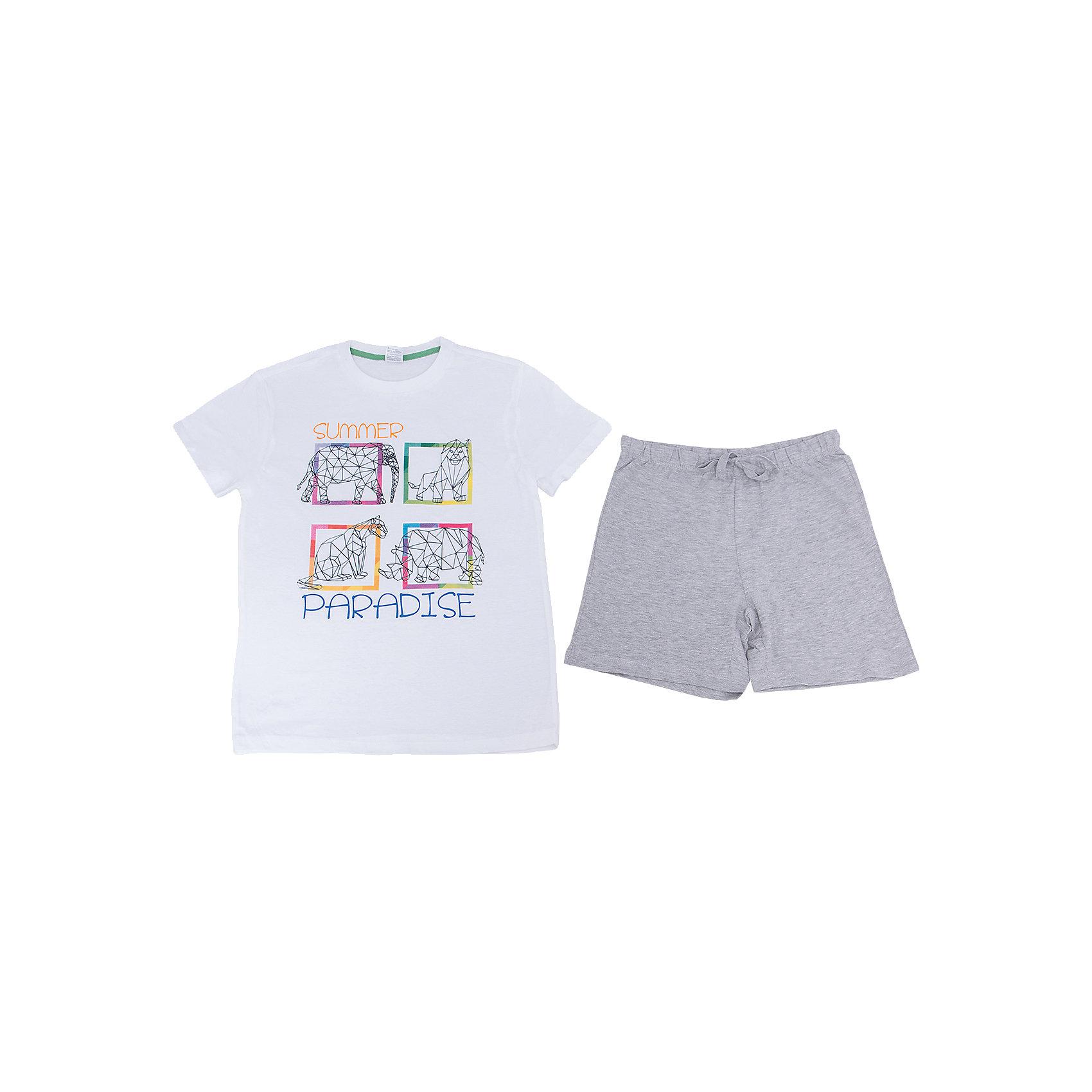 Пижама для мальчика SELAПижамы и сорочки<br>Характеристики товара:<br><br>• цвет: белый/серый<br>• состав: 100% хлопок<br>• комплектация: футболка, шорты<br>• короткие рукава<br>• принт<br>• пояс: мягкая резинка и шнурок<br>• страна бренда: Российская Федерация<br><br>Вещи из новой коллекции SELA продолжают радовать удобством! Симпатичная пижама поможет обеспечить ребенку комфорт - она очень удобно сидит на теле. В составе материала - натуральный хлопок. Отличная одежда для комфортного сна!<br><br>Пижаму для девочки от популярного бренда SELA (СЕЛА) можно купить в нашем интернет-магазине.<br><br>Ширина мм: 281<br>Глубина мм: 70<br>Высота мм: 188<br>Вес г: 295<br>Цвет: серый<br>Возраст от месяцев: 96<br>Возраст до месяцев: 108<br>Пол: Мужской<br>Возраст: Детский<br>Размер: 128/134,140/146,92/98,104/110,116/122<br>SKU: 5302881