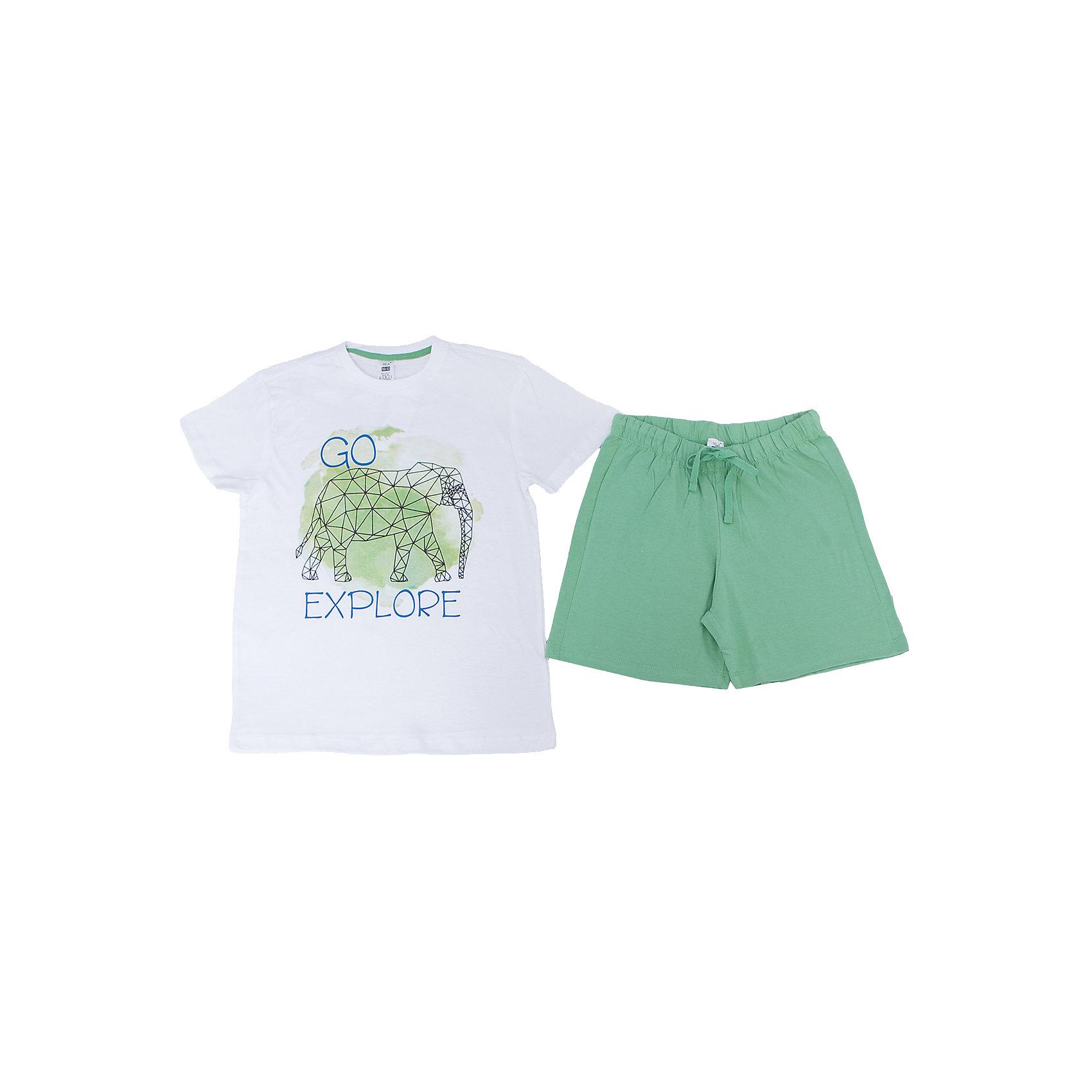 Пижама для мальчика SELAПижамы и сорочки<br>Характеристики товара:<br><br>• цвет: белый/зелёный<br>• состав: 100% хлопок<br>• комплектация: футболка, шорты<br>• короткие рукава<br>• принт<br>• пояс: мягкая резинка и шнурок<br>• страна бренда: Российская Федерация<br><br>Вещи из новой коллекции SELA продолжают радовать удобством! Симпатичная пижама поможет обеспечить ребенку комфорт - она очень удобно сидит на теле. В составе материала - натуральный хлопок. Отличная одежда для комфортного сна!<br><br>Пижаму для девочки от популярного бренда SELA (СЕЛА) можно купить в нашем интернет-магазине.<br><br>Ширина мм: 281<br>Глубина мм: 70<br>Высота мм: 188<br>Вес г: 295<br>Цвет: зеленый<br>Возраст от месяцев: 96<br>Возраст до месяцев: 108<br>Пол: Мужской<br>Возраст: Детский<br>Размер: 128/134,140/146,92/98,104/110,116/122<br>SKU: 5302887
