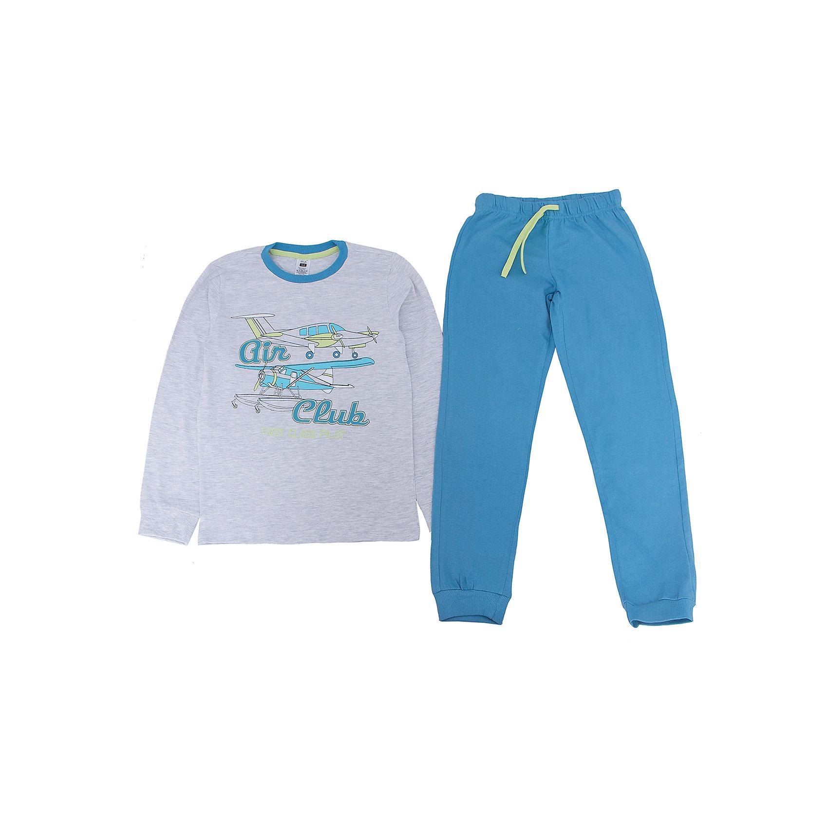 Пижама для мальчика SELAПижамы и сорочки<br>Пижама для мальчика SELA<br><br>Характеристики:<br><br>- цвет: серый/голубой<br>- в комплект входит: штаны, кофта<br>- свободный силуэт<br>- эластичные манжеты<br>- состав: кофта: хлопок 93%, полиэстер 7%; штаны: хлопок 100% <br>- для детей в возрасте: от 2 до 6 лет<br>- страна производитель: Индия<br><br>Яркая пижама сине-серого цвета из новой коллекции весна 2017 от популярного бренда одежды SELA (Сэла). Пижама с большими самолетами отлично подойдет для использования на каждый день в прохладное время года. Натуральная хлопчатобумажная ткань изделия отлично пропускает воздух и позволяет коже дышать. Свободный силуэт пижамы обеспечивает необходимый комфорт во время сна. Воздушная тематика новой пижамы поможет отправиться на поиски приключений в мир приятных и увлекательных снов. <br><br>Пижаму для мальчика SELA можно купить в нашем интернет-магазине.<br><br>Ширина мм: 281<br>Глубина мм: 70<br>Высота мм: 188<br>Вес г: 295<br>Цвет: серый<br>Возраст от месяцев: 96<br>Возраст до месяцев: 108<br>Пол: Мужской<br>Возраст: Детский<br>Размер: 128/134,140/146,92/98,104/110,116/122<br>SKU: 5302893
