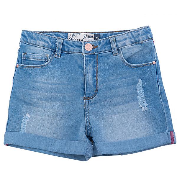 Шорты джинсовые для девочки SELAДжинсовая одежда<br>Характеристики товара:<br><br>• цвет: синий<br>• сезон: лето<br>• состав: 100% хлопок<br>• эффект потертостей<br>• застежка - пуговица<br>• карманы<br>• шлевки<br>• страна бренда: Россия<br><br>Вещи из новой коллекции SELA продолжают радовать удобством! Легкие джэинсовые шорты для девочки помогут разнообразить гардероб ребенка. Они отлично сочетаются с майками или футболками. <br> <br>Одежда, обувь и аксессуары от российского бренда SELA не зря пользуются большой популярностью у детей и взрослых! Модели этой марки - стильные и удобные, цена при этом неизменно остается доступной. Для их производства используются только безопасные, качественные материалы и фурнитура. Новая коллекция поддерживает хорошие традиции бренда! <br><br>Шорты для девочки от популярного бренда SELA (СЕЛА) можно купить в нашем интернет-магазине.<br>Ширина мм: 191; Глубина мм: 10; Высота мм: 175; Вес г: 273; Цвет: голубой; Возраст от месяцев: 96; Возраст до месяцев: 108; Пол: Женский; Возраст: Детский; Размер: 134,140,146,152,122,128; SKU: 5303048;