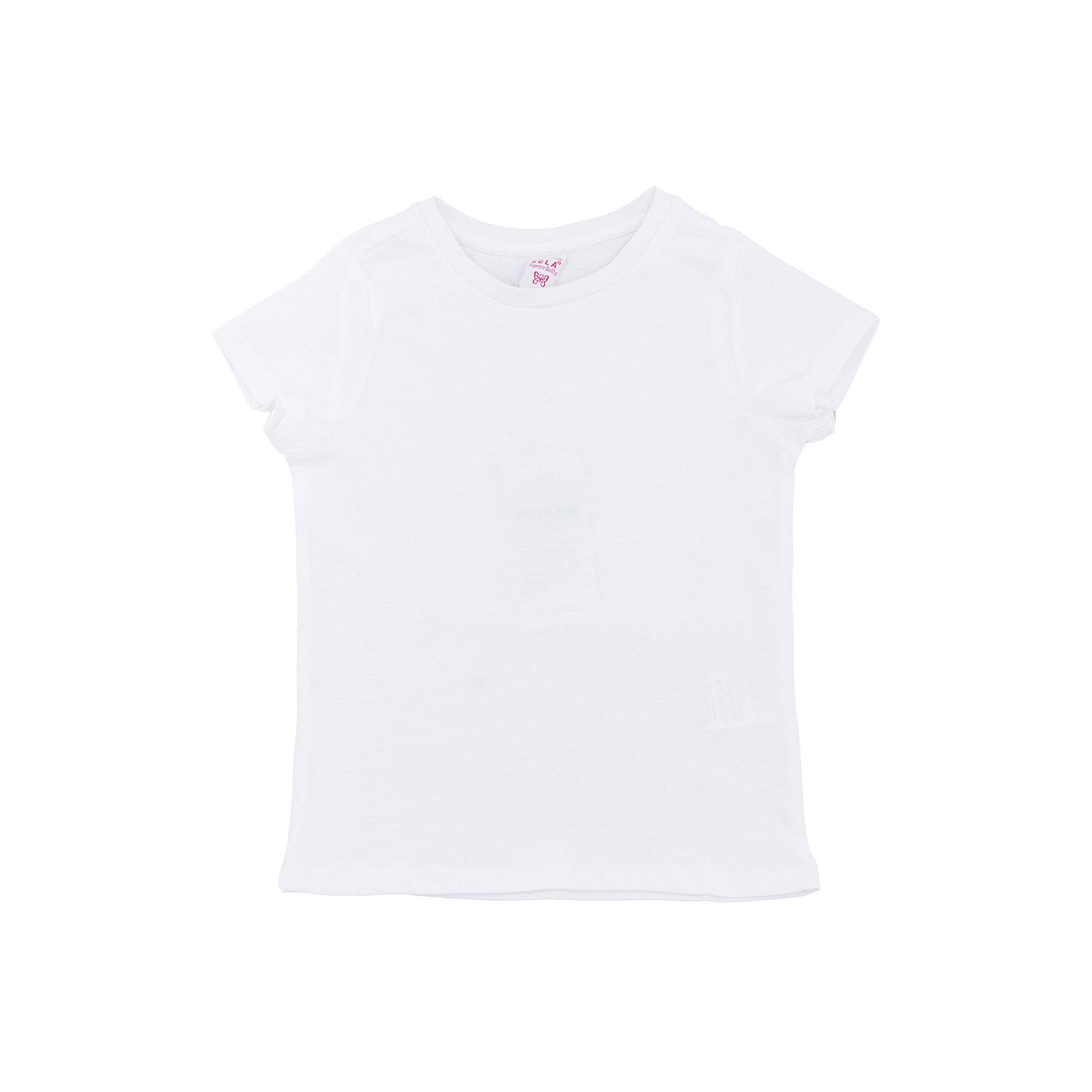 Футболка  для девочки SELAХарактеристики товара:<br><br>• цвет: белый<br>• состав: 100% хлопок<br>• однотонная<br>• короткие рукава<br>• округлый горловой вырез<br>• коллекция весна-лето 2017<br>• страна бренда: Российская Федерация<br><br>В новой коллекции SELA отличные модели одежды! Эта футболка для девочки поможет разнообразить гардероб ребенка и обеспечить комфорт. Она отлично сочетается с юбками и брюками. Удобная базовая вещь!<br><br>Одежда, обувь и аксессуары от российского бренда SELA не зря пользуются большой популярностью у детей и взрослых! Модели этой марки - стильные и удобные, цена при этом неизменно остается доступной. Для их производства используются только безопасные, качественные материалы и фурнитура. Новая коллекция поддерживает хорошие традиции бренда! <br><br>Футболку для девочки от популярного бренда SELA (СЕЛА) можно купить в нашем интернет-магазине.<br><br>Ширина мм: 230<br>Глубина мм: 40<br>Высота мм: 220<br>Вес г: 250<br>Цвет: белый<br>Возраст от месяцев: 60<br>Возраст до месяцев: 72<br>Пол: Женский<br>Возраст: Детский<br>Размер: 116,92,98,104,110<br>SKU: 5303324