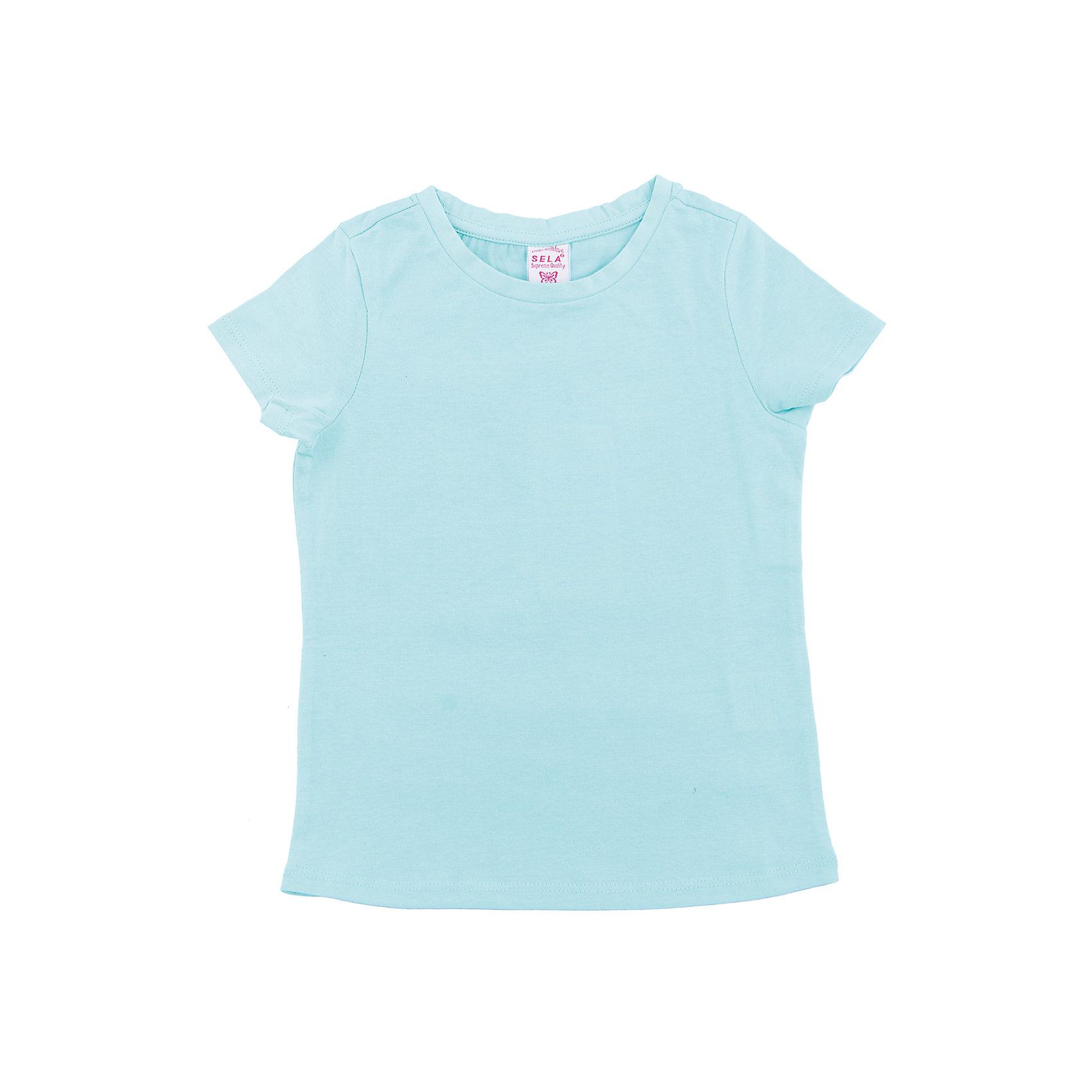Футболка  для девочки SELAХарактеристики товара:<br><br>• цвет: мятный<br>• состав: 100% хлопок<br>• однотонная<br>• короткие рукава<br>• округлый горловой вырез<br>• коллекция весна-лето 2017<br>• страна бренда: Российская Федерация<br><br>В новой коллекции SELA отличные модели одежды! Эта футболка для девочки поможет разнообразить гардероб ребенка и обеспечить комфорт. Она отлично сочетается с юбками и брюками. Удобная базовая вещь!<br><br>Одежда, обувь и аксессуары от российского бренда SELA не зря пользуются большой популярностью у детей и взрослых! Модели этой марки - стильные и удобные, цена при этом неизменно остается доступной. Для их производства используются только безопасные, качественные материалы и фурнитура. Новая коллекция поддерживает хорошие традиции бренда! <br><br>Футболку для девочки от популярного бренда SELA (СЕЛА) можно купить в нашем интернет-магазине.<br><br>Ширина мм: 230<br>Глубина мм: 40<br>Высота мм: 220<br>Вес г: 250<br>Цвет: зеленый<br>Возраст от месяцев: 60<br>Возраст до месяцев: 72<br>Пол: Женский<br>Возраст: Детский<br>Размер: 116,92,98,104,110<br>SKU: 5303342