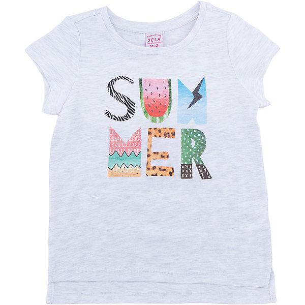 Футболка для девочки SELAФутболки, поло и топы<br>Характеристики товара:<br><br>• цвет: серый<br>• состав: 100% хлопок<br>• декорирована принтом<br>• сезон: лето<br>• рукава короткие<br>• округлый горловой вырез<br>• страна бренда: Россия<br><br>Вещи из новой коллекции SELA продолжают радовать удобством! Эта футболка для девочки поможет разнообразить гардероб ребенка и обеспечить комфорт. Она отлично сочетается с юбками и брюками. Стильная и удобная вещь!<br><br>Одежда, обувь и аксессуары от российского бренда SELA не зря пользуются большой популярностью у детей и взрослых!<br><br>Футболку для девочки от популярного бренда SELA (СЕЛА) можно купить в нашем интернет-магазине.<br><br>Ширина мм: 230<br>Глубина мм: 40<br>Высота мм: 220<br>Вес г: 250<br>Цвет: серый<br>Возраст от месяцев: 18<br>Возраст до месяцев: 24<br>Пол: Женский<br>Возраст: Детский<br>Размер: 92,116,110,104,98<br>SKU: 5303420