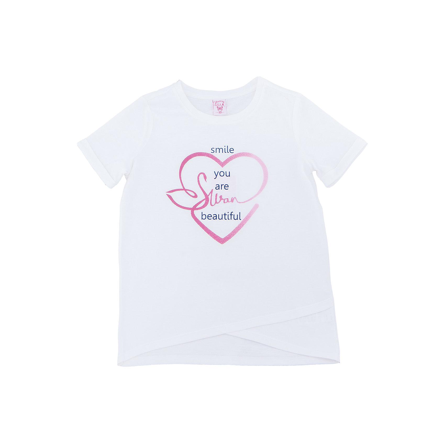 Футболка  для девочки SELAХарактеристики товара:<br><br>• цвет: белый<br>• состав: 100% хлопок<br>• декорирована принтом<br>• короткие рукава<br>• округлый горловой вырез<br>• коллекция весна-лето 2017<br>• страна бренда: Российская Федерация<br><br>В новой коллекции SELA отличные модели одежды! Эта футболка для девочки поможет разнообразить гардероб ребенка и обеспечить комфорт. Она отлично сочетается с юбками и брюками. Удобная базовая вещь!<br><br>Одежда, обувь и аксессуары от российского бренда SELA не зря пользуются большой популярностью у детей и взрослых! Модели этой марки - стильные и удобные, цена при этом неизменно остается доступной. Для их производства используются только безопасные, качественные материалы и фурнитура. Новая коллекция поддерживает хорошие традиции бренда! <br><br>Футболку для девочки от популярного бренда SELA (СЕЛА) можно купить в нашем интернет-магазине.<br><br>Ширина мм: 230<br>Глубина мм: 40<br>Высота мм: 220<br>Вес г: 250<br>Цвет: молочный<br>Возраст от месяцев: 60<br>Возраст до месяцев: 72<br>Пол: Женский<br>Возраст: Детский<br>Размер: 116,122,128,134,140,146,152<br>SKU: 5303483