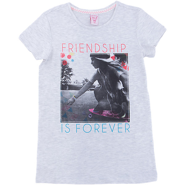 Футболка  для девочки SELAФутболки, поло и топы<br>Характеристики товара:<br><br>• цвет: серый<br>• состав: 100% хлопок<br>• декорирована принтом<br>• короткие рукава<br>• округлый горловой вырез<br>• страна бренда: Российская Федерация<br><br>В новой коллекции SELA отличные модели одежды! Эта футболка для девочки поможет разнообразить гардероб ребенка и обеспечить комфорт. Она отлично сочетается с юбками и брюками. Стильная и удобная вещь!<br><br>Футболку для девочки от популярного бренда SELA (СЕЛА) можно купить в нашем интернет-магазине.<br>Ширина мм: 230; Глубина мм: 40; Высота мм: 220; Вес г: 250; Цвет: серый; Возраст от месяцев: 96; Возраст до месяцев: 108; Пол: Женский; Возраст: Детский; Размер: 134,140,146,152,116,122,128; SKU: 5303602;