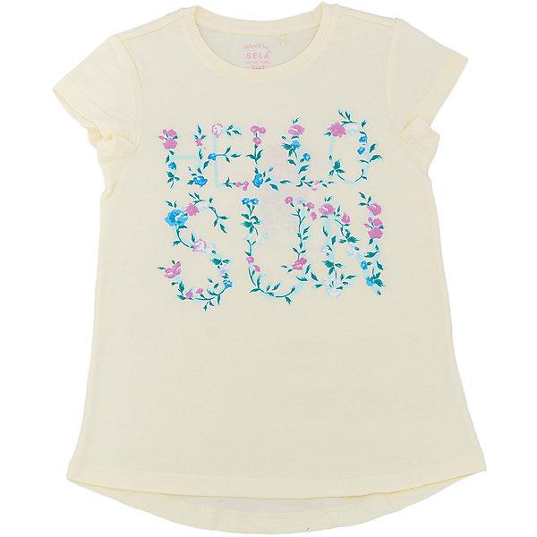Футболка для девочки SELAФутболки, поло и топы<br>Характеристики товара:<br><br>• цвет: светло-желтый<br>• состав: 100% хлопок<br>• принт<br>• короткие рукава<br>• округлый горловой вырез<br>• страна бренда: Российская Федерация<br><br>В новой коллекции SELA отличные модели одежды! Эта футболка для девочки поможет разнообразить гардероб ребенка и обеспечить комфорт. Она отлично сочетается с юбками и брюками. Стильная и удобная вещь!<br><br>Футболку для девочки от популярного бренда SELA (СЕЛА) можно купить в нашем интернет-магазине.<br><br>Ширина мм: 230<br>Глубина мм: 40<br>Высота мм: 220<br>Вес г: 250<br>Цвет: желтый<br>Возраст от месяцев: 108<br>Возраст до месяцев: 120<br>Пол: Женский<br>Возраст: Детский<br>Размер: 140,134,128,122,152,146<br>SKU: 5303656