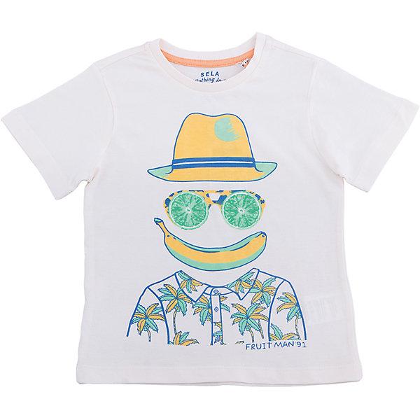 Футболка для мальчика SELAФутболки, поло и топы<br>Характеристики товара:<br><br>• состав: 100% хлопок<br>• декорирована принтом<br>• сезон: лето<br>• рукава короткие<br>• округлый горловой вырез<br>• страна бренда: Россия<br><br>Вещи из новой коллекции SELA продолжают радовать удобством! Эта футболка для мальчика поможет разнообразить гардероб ребенка и обеспечить комфорт. Она отлично сочетается с шортами и брюками. Стильная и удобная вещь!<br><br>Одежда, обувь и аксессуары от российского бренда SELA не зря пользуются большой популярностью у детей и взрослых!<br><br>Футболку для мальчика от популярного бренда SELA (СЕЛА) можно купить в нашем интернет-магазине.<br><br>Ширина мм: 230<br>Глубина мм: 40<br>Высота мм: 220<br>Вес г: 250<br>Цвет: серый<br>Возраст от месяцев: 18<br>Возраст до месяцев: 24<br>Пол: Мужской<br>Возраст: Детский<br>Размер: 116,98,104,110,92<br>SKU: 5303779