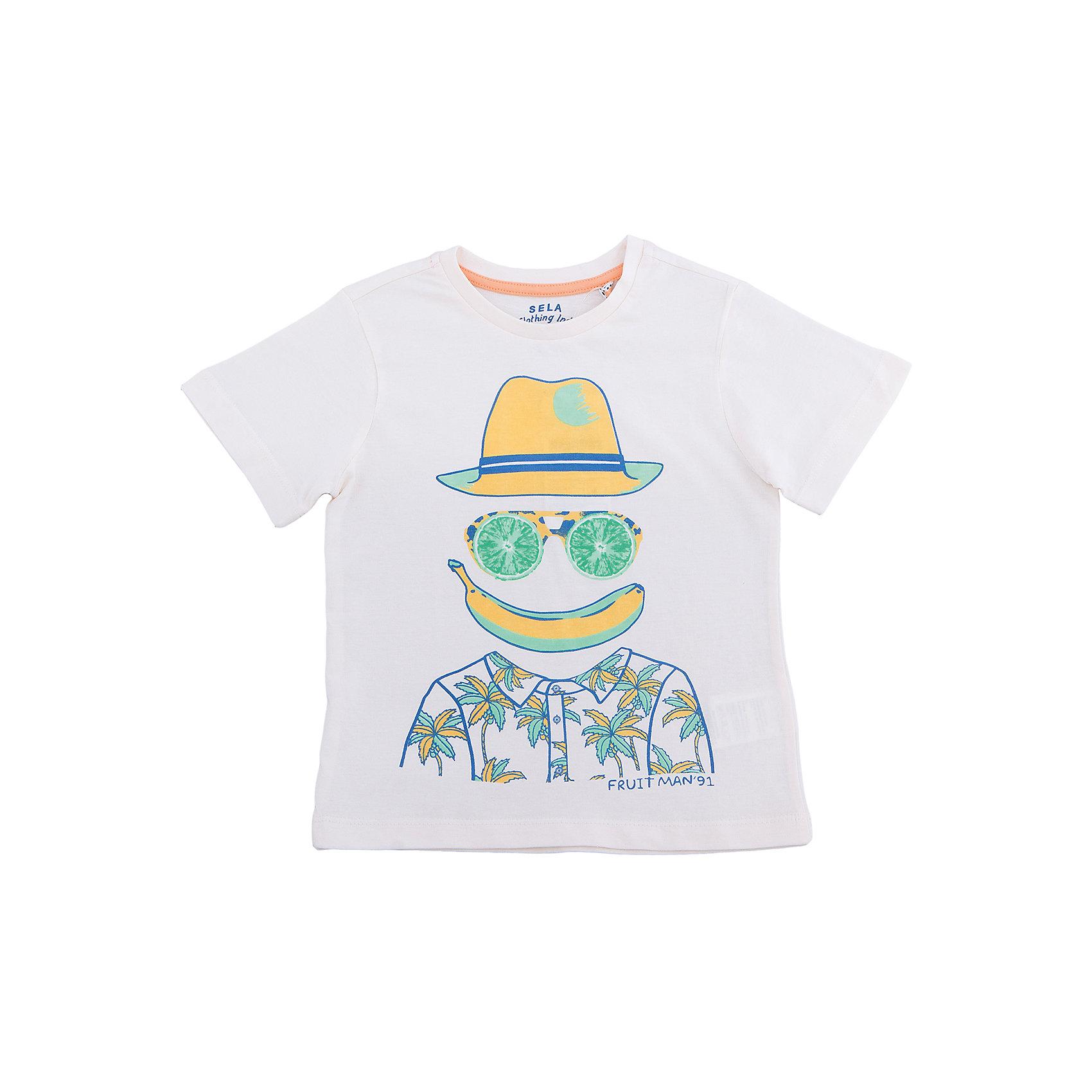 Футболка для мальчика SELAФутболки, поло и топы<br>Характеристики товара:<br><br>• состав: 100% хлопок<br>• декорирована принтом<br>• сезон: лето<br>• рукава короткие<br>• округлый горловой вырез<br>• страна бренда: Россия<br><br>Вещи из новой коллекции SELA продолжают радовать удобством! Эта футболка для мальчика поможет разнообразить гардероб ребенка и обеспечить комфорт. Она отлично сочетается с шортами и брюками. Стильная и удобная вещь!<br><br>Одежда, обувь и аксессуары от российского бренда SELA не зря пользуются большой популярностью у детей и взрослых!<br><br>Футболку для мальчика от популярного бренда SELA (СЕЛА) можно купить в нашем интернет-магазине.<br><br>Ширина мм: 230<br>Глубина мм: 40<br>Высота мм: 220<br>Вес г: 250<br>Цвет: серый<br>Возраст от месяцев: 60<br>Возраст до месяцев: 72<br>Пол: Мужской<br>Возраст: Детский<br>Размер: 116,92,98,104,110<br>SKU: 5303779