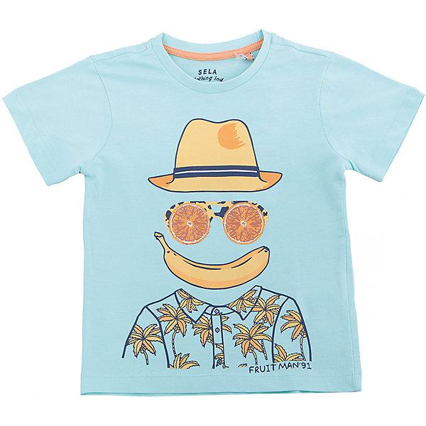 Футболка  для мальчика SELAФутболки, поло и топы<br>Характеристики товара:<br><br>• состав: 100% хлопок<br>• декорирована принтом<br>• сезон: лето<br>• рукава короткие<br>• округлый горловой вырез<br>• страна бренда: Россия<br><br>Вещи из новой коллекции SELA продолжают радовать удобством! Эта футболка для мальчика поможет разнообразить гардероб ребенка и обеспечить комфорт. Она отлично сочетается с шортами и брюками. Стильная и удобная вещь!<br><br>Одежда, обувь и аксессуары от российского бренда SELA не зря пользуются большой популярностью у детей и взрослых!<br><br>Футболку для мальчика от популярного бренда SELA (СЕЛА) можно купить в нашем интернет-магазине.<br><br>Ширина мм: 230<br>Глубина мм: 40<br>Высота мм: 220<br>Вес г: 250<br>Цвет: голубой<br>Возраст от месяцев: 60<br>Возраст до месяцев: 72<br>Пол: Мужской<br>Возраст: Детский<br>Размер: 116,92,110,104,98<br>SKU: 5303785