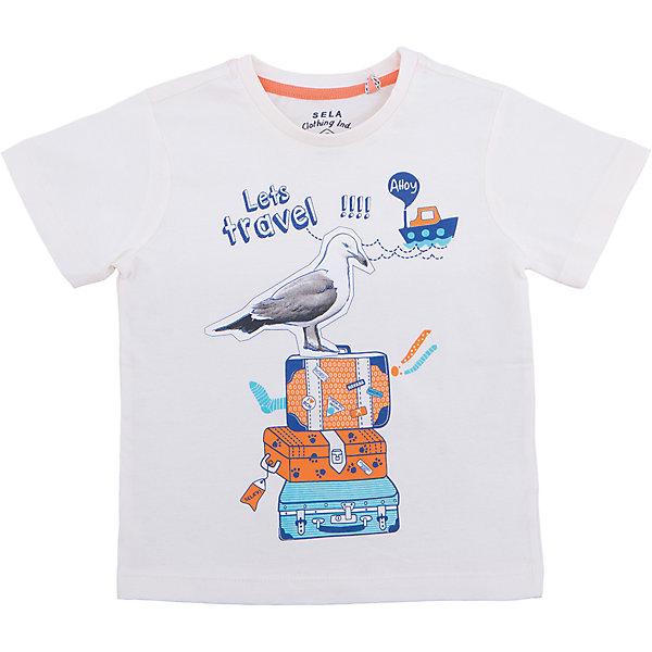 Футболка  для мальчика SELAФутболки, поло и топы<br>Характеристики товара:<br><br>• цвет: серый<br>• состав: 100% хлопок<br>• декорирована принтом<br>• сезон: лето<br>• рукава короткие<br>• округлый горловой вырез<br>• страна бренда: Россия<br><br>Вещи из новой коллекции SELA продолжают радовать удобством! Эта футболка для мальчика поможет разнообразить гардероб ребенка и обеспечить комфорт. Она отлично сочетается с шортами и брюками. Стильная и удобная вещь!<br><br>Одежда, обувь и аксессуары от российского бренда SELA не зря пользуются большой популярностью у детей и взрослых!<br><br>Футболку для мальчика от популярного бренда SELA (СЕЛА) можно купить в нашем интернет-магазине.<br><br>Ширина мм: 230<br>Глубина мм: 40<br>Высота мм: 220<br>Вес г: 250<br>Цвет: серый<br>Возраст от месяцев: 60<br>Возраст до месяцев: 72<br>Пол: Мужской<br>Возраст: Детский<br>Размер: 116,92,110,104,98<br>SKU: 5303845