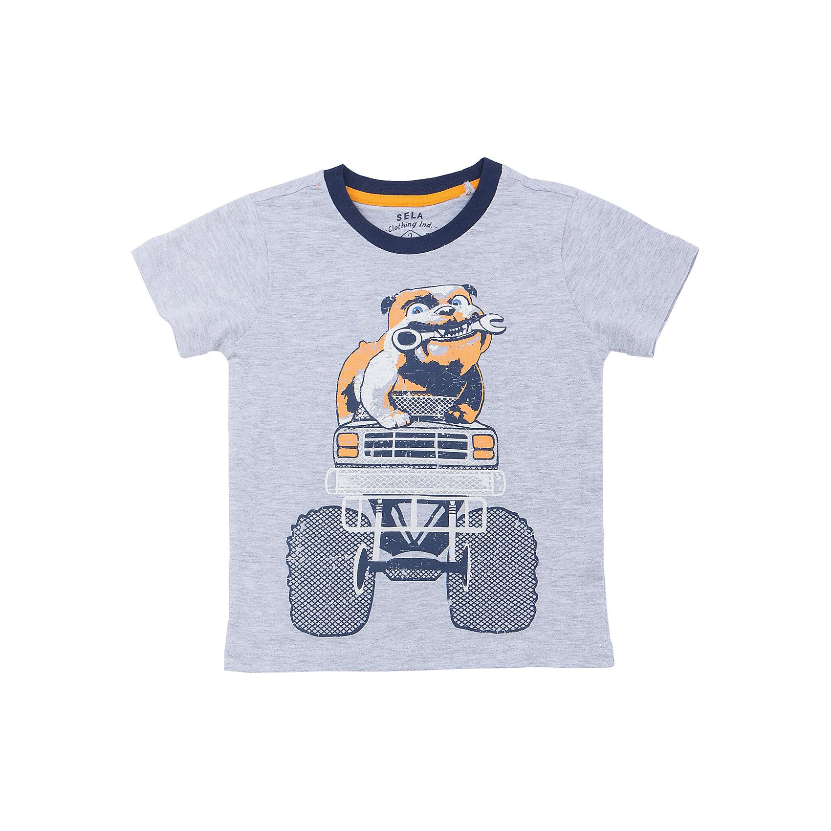 Футболка  для мальчика SELAХарактеристики товара:<br><br>• цвет: серый<br>• состав: 100% хлопок<br>• принт<br>• короткие рукава<br>• округлый горловой вырез<br>• коллекция весна-лето 2017<br>• страна бренда: Российская Федерация<br><br>В новой коллекции SELA отличные модели одежды! Эта футболка для мальчика поможет разнообразить гардероб ребенка и обеспечить комфорт. Она отлично сочетается с джинсами и брюками. В составе - только дышащий и гипоаллергенный хлопок!<br><br>Одежда, обувь и аксессуары от российского бренда SELA не зря пользуются большой популярностью у детей и взрослых! Модели этой марки - стильные и удобные, цена при этом неизменно остается доступной. Для их производства используются только безопасные, качественные материалы и фурнитура. Новая коллекция поддерживает хорошие традиции бренда! <br><br>Футболку для мальчика от популярного бренда SELA (СЕЛА) можно купить в нашем интернет-магазине.<br><br>Ширина мм: 230<br>Глубина мм: 40<br>Высота мм: 220<br>Вес г: 250<br>Цвет: серый<br>Возраст от месяцев: 60<br>Возраст до месяцев: 72<br>Пол: Мужской<br>Возраст: Детский<br>Размер: 116,104,98,110,92<br>SKU: 5303875
