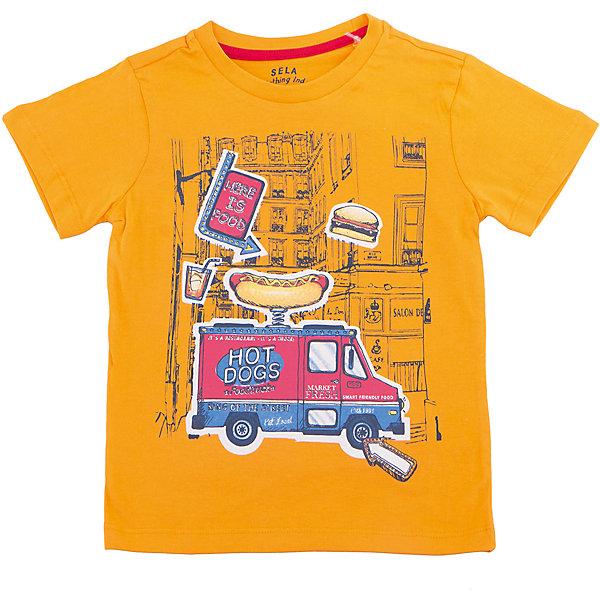 Футболка  для мальчика SELAФутболки, поло и топы<br>Характеристики товара:<br><br>• цвет: оранжевый<br>• состав: 100% хлопок<br>• принт<br>• короткие рукава<br>• округлый горловой вырез<br>• коллекция весна-лето 2017<br>• страна бренда: Российская Федерация<br><br>В новой коллекции SELA отличные модели одежды! Эта футболка для мальчика поможет разнообразить гардероб ребенка и обеспечить комфорт. Она отлично сочетается с джинсами и брюками. Удобная базовая вещь!<br><br>Одежда, обувь и аксессуары от российского бренда SELA не зря пользуются большой популярностью у детей и взрослых! Модели этой марки - стильные и удобные, цена при этом неизменно остается доступной. Для их производства используются только безопасные, качественные материалы и фурнитура. Новая коллекция поддерживает хорошие традиции бренда! <br><br>Футболку для мальчика от популярного бренда SELA (СЕЛА) можно купить в нашем интернет-магазине.<br>Ширина мм: 230; Глубина мм: 40; Высота мм: 220; Вес г: 250; Цвет: желтый; Возраст от месяцев: 18; Возраст до месяцев: 24; Пол: Мужской; Возраст: Детский; Размер: 92,110,104,116,98; SKU: 5303881;