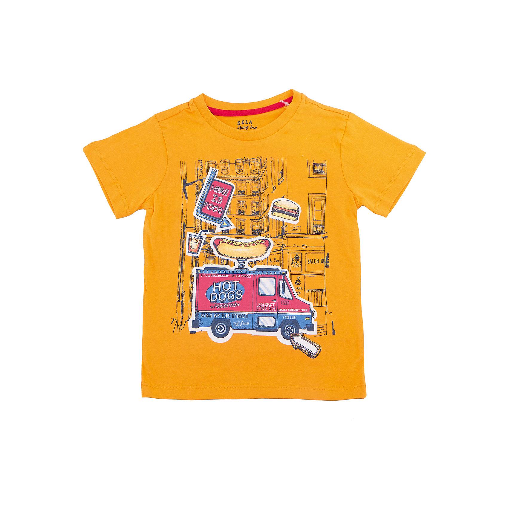 Футболка  для мальчика SELAФутболки, поло и топы<br>Характеристики товара:<br><br>• цвет: оранжевый<br>• состав: 100% хлопок<br>• принт<br>• короткие рукава<br>• округлый горловой вырез<br>• коллекция весна-лето 2017<br>• страна бренда: Российская Федерация<br><br>В новой коллекции SELA отличные модели одежды! Эта футболка для мальчика поможет разнообразить гардероб ребенка и обеспечить комфорт. Она отлично сочетается с джинсами и брюками. Удобная базовая вещь!<br><br>Одежда, обувь и аксессуары от российского бренда SELA не зря пользуются большой популярностью у детей и взрослых! Модели этой марки - стильные и удобные, цена при этом неизменно остается доступной. Для их производства используются только безопасные, качественные материалы и фурнитура. Новая коллекция поддерживает хорошие традиции бренда! <br><br>Футболку для мальчика от популярного бренда SELA (СЕЛА) можно купить в нашем интернет-магазине.<br><br>Ширина мм: 230<br>Глубина мм: 40<br>Высота мм: 220<br>Вес г: 250<br>Цвет: желтый<br>Возраст от месяцев: 60<br>Возраст до месяцев: 72<br>Пол: Мужской<br>Возраст: Детский<br>Размер: 116,92,98,104,110<br>SKU: 5303881