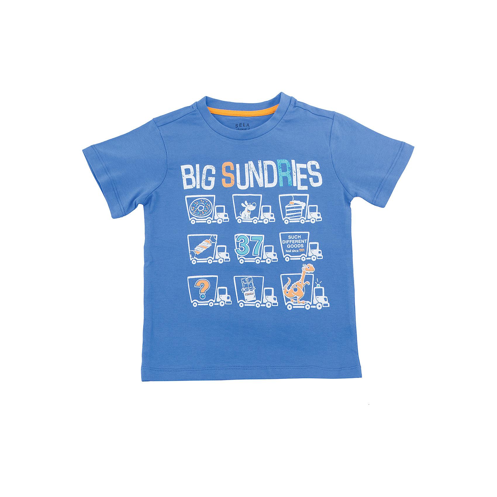 Футболка  для мальчика SELAХарактеристики товара:<br><br>• цвет: синий<br>• состав: 100% хлопок<br>• принт<br>• короткие рукава<br>• округлый горловой вырез<br>• коллекция весна-лето 2017<br>• страна бренда: Российская Федерация<br><br>В новой коллекции SELA отличные модели одежды! Эта футболка для мальчика поможет разнообразить гардероб ребенка и обеспечить комфорт. Она отлично сочетается с джинсами и брюками. Удобная базовая вещь!<br><br>Одежда, обувь и аксессуары от российского бренда SELA не зря пользуются большой популярностью у детей и взрослых! Модели этой марки - стильные и удобные, цена при этом неизменно остается доступной. Для их производства используются только безопасные, качественные материалы и фурнитура. Новая коллекция поддерживает хорошие традиции бренда! <br><br>Футболку для мальчика от популярного бренда SELA (СЕЛА) можно купить в нашем интернет-магазине.<br><br>Ширина мм: 230<br>Глубина мм: 40<br>Высота мм: 220<br>Вес г: 250<br>Цвет: синий<br>Возраст от месяцев: 18<br>Возраст до месяцев: 24<br>Пол: Мужской<br>Возраст: Детский<br>Размер: 92,98,104,110,116<br>SKU: 5303935