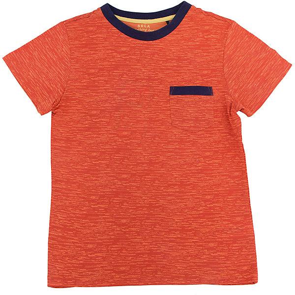 Футболка для мальчика SELAНижнее бельё<br>Характеристики товара:<br><br>• цвет: оранжевый<br>• состав: 60% хлопок, 40% ПЭ<br>• принт<br>• короткие рукава<br>• округлый горловой вырез<br>• страна бренда: Российская Федерация<br><br>В новой коллекции SELA отличные модели одежды! Эта футболка для мальчика поможет разнообразить гардероб ребенка и обеспечить комфорт. Она отлично сочетается с джинсами и брюками. Удобная базовая вещь!<br><br>Футболку для мальчика от популярного бренда SELA (СЕЛА) можно купить в нашем интернет-магазине.<br><br>Ширина мм: 230<br>Глубина мм: 40<br>Высота мм: 220<br>Вес г: 250<br>Цвет: оранжевый<br>Возраст от месяцев: 96<br>Возраст до месяцев: 108<br>Пол: Мужской<br>Возраст: Детский<br>Размер: 134,140,128,122,116,152,146<br>SKU: 5303977