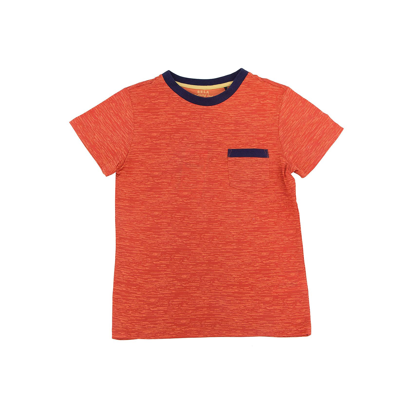 Футболка для мальчика SELAНижнее бельё<br>Характеристики товара:<br><br>• цвет: оранжевый<br>• состав: 60% хлопок, 40% ПЭ<br>• принт<br>• короткие рукава<br>• округлый горловой вырез<br>• страна бренда: Российская Федерация<br><br>В новой коллекции SELA отличные модели одежды! Эта футболка для мальчика поможет разнообразить гардероб ребенка и обеспечить комфорт. Она отлично сочетается с джинсами и брюками. Удобная базовая вещь!<br><br>Футболку для мальчика от популярного бренда SELA (СЕЛА) можно купить в нашем интернет-магазине.<br><br>Ширина мм: 230<br>Глубина мм: 40<br>Высота мм: 220<br>Вес г: 250<br>Цвет: оранжевый<br>Возраст от месяцев: 96<br>Возраст до месяцев: 108<br>Пол: Мужской<br>Возраст: Детский<br>Размер: 134,140,146,152,116,122,128<br>SKU: 5303977