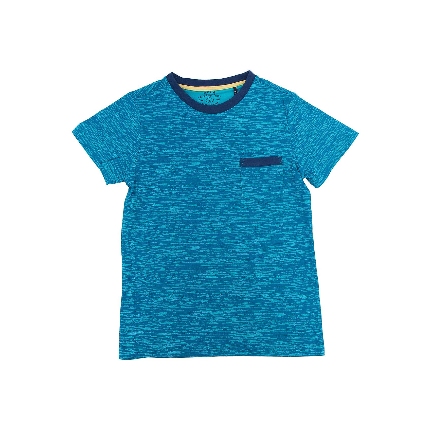 Футболка для мальчика SELAФутболки, поло и топы<br>Характеристики товара:<br><br>• цвет: синий<br>• состав: 60% хлопок, 40% ПЭ<br>• принт<br>• короткие рукава<br>• округлый горловой вырез<br>• страна бренда: Российская Федерация<br><br>В новой коллекции SELA отличные модели одежды! Эта футболка для мальчика поможет разнообразить гардероб ребенка и обеспечить комфорт. Она отлично сочетается с джинсами и брюками. Удобная базовая вещь!<br><br>Футболку для мальчика от популярного бренда SELA (СЕЛА) можно купить в нашем интернет-магазине.<br><br>Ширина мм: 230<br>Глубина мм: 40<br>Высота мм: 220<br>Вес г: 250<br>Цвет: синий<br>Возраст от месяцев: 132<br>Возраст до месяцев: 144<br>Пол: Мужской<br>Возраст: Детский<br>Размер: 152,134,140,146,116,122,128<br>SKU: 5303985