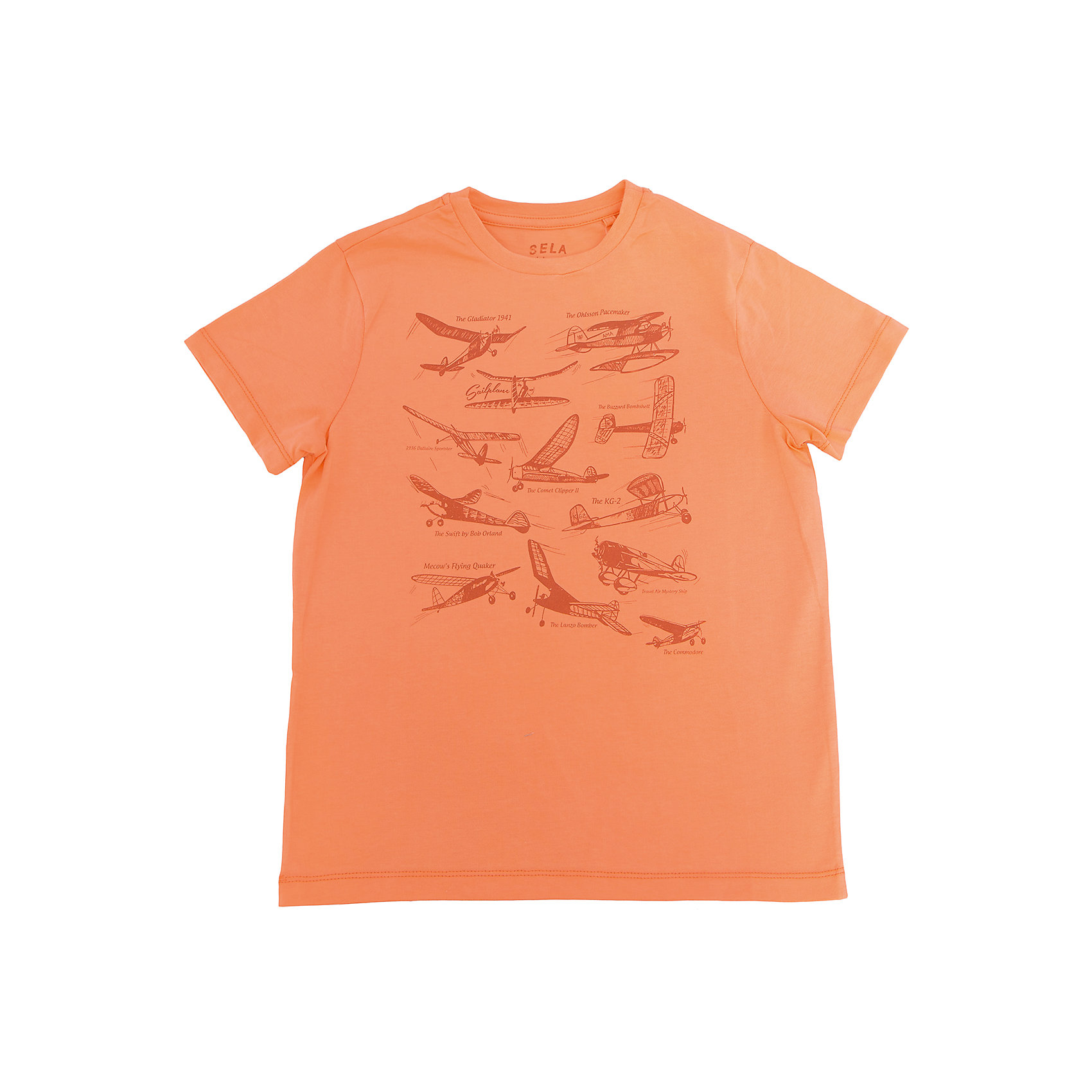 Футболка  для мальчика SELAФутболки, поло и топы<br>Характеристики товара:<br><br>• цвет: оранжевый<br>• состав: 100% хлопок<br>• принт<br>• короткие рукава<br>• округлый горловой вырез<br>• коллекция весна-лето 2017<br>• страна бренда: Российская Федерация<br><br>В новой коллекции SELA отличные модели одежды! Эта футболка для мальчика поможет разнообразить гардероб ребенка и обеспечить комфорт. Она отлично сочетается с джинсами и брюками. В составе ткани -только дышащий гипоаллергенный хлопок!<br><br>Одежда, обувь и аксессуары от российского бренда SELA не зря пользуются большой популярностью у детей и взрослых! Модели этой марки - стильные и удобные, цена при этом неизменно остается доступной. Для их производства используются только безопасные, качественные материалы и фурнитура. Новая коллекция поддерживает хорошие традиции бренда! <br><br>Футболку для мальчика от популярного бренда SELA (СЕЛА) можно купить в нашем интернет-магазине.<br><br>Ширина мм: 230<br>Глубина мм: 40<br>Высота мм: 220<br>Вес г: 250<br>Цвет: оранжевый<br>Возраст от месяцев: 108<br>Возраст до месяцев: 120<br>Пол: Мужской<br>Возраст: Детский<br>Размер: 140,134,128,122,116,152,146<br>SKU: 5304033