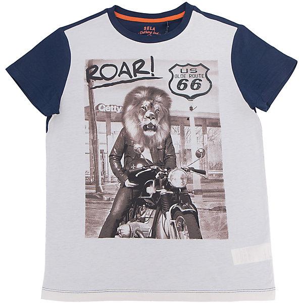 Футболка для мальчика SELAФутболки, поло и топы<br>Характеристики товара:<br><br>• цвет: серый<br>• состав: 100% хлопок<br>• принт<br>• короткие рукава<br>• округлый горловой вырез<br>• страна бренда: Российская Федерация<br><br>В новой коллекции SELA отличные модели одежды! Эта футболка для мальчика поможет разнообразить гардероб ребенка и обеспечить комфорт.Удобная базовая вещь!<br><br>Футболку для мальчика от популярного бренда SELA (СЕЛА) можно купить в нашем интернет-магазине.<br>Ширина мм: 230; Глубина мм: 40; Высота мм: 220; Вес г: 250; Цвет: серый; Возраст от месяцев: 108; Возраст до месяцев: 120; Пол: Мужской; Возраст: Детский; Размер: 140,134,128,122,116,152,146; SKU: 5304041;