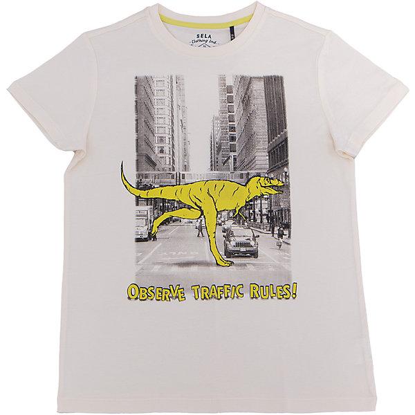 Футболка для мальчика SELAФутболки, поло и топы<br>Характеристики товара:<br><br>• цвет: серый<br>• состав: 100% хлопок<br>• принт<br>• короткие рукава<br>• округлый горловой вырез<br>• страна бренда: Российская Федерация<br><br>В новой коллекции SELA отличные модели одежды! Эта футболка для мальчика поможет разнообразить гардероб ребенка и обеспечить комфорт. Она отлично сочетается с джинсами и брюками. Удобная базовая вещь!<br><br>Футболку для мальчика от популярного бренда SELA (СЕЛА) можно купить в нашем интернет-магазине.<br><br>Ширина мм: 230<br>Глубина мм: 40<br>Высота мм: 220<br>Вес г: 250<br>Цвет: серый<br>Возраст от месяцев: 108<br>Возраст до месяцев: 120<br>Пол: Мужской<br>Возраст: Детский<br>Размер: 140,134,128,122,116,152,146<br>SKU: 5304049