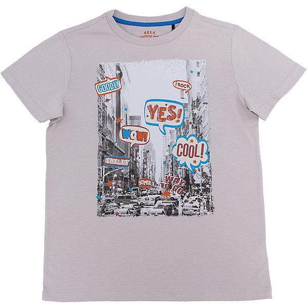 Футболка для мальчика SELAФутболки, поло и топы<br>Характеристики товара:<br><br>• цвет: серый<br>• состав: 100% хлопок<br>• принт<br>• короткие рукава<br>• округлый горловой вырез<br>• коллекция весна-лето 2017<br>• страна бренда: Российская Федерация<br><br>В новой коллекции SELA отличные модели одежды! Эта футболка для мальчика поможет разнообразить гардероб ребенка и обеспечить комфорт. Она отлично сочетается с джинсами и брюками. В составе ткани -только дышащий гипоаллергенный хлопок!<br><br>Одежда, обувь и аксессуары от российского бренда SELA не зря пользуются большой популярностью у детей и взрослых! Модели этой марки - стильные и удобные, цена при этом неизменно остается доступной. Для их производства используются только безопасные, качественные материалы и фурнитура. Новая коллекция поддерживает хорошие традиции бренда! <br><br>Футболку для мальчика от популярного бренда SELA (СЕЛА) можно купить в нашем интернет-магазине.<br>Ширина мм: 230; Глубина мм: 40; Высота мм: 220; Вес г: 250; Цвет: серый; Возраст от месяцев: 72; Возраст до месяцев: 84; Пол: Мужской; Возраст: Детский; Размер: 122,116,152,146,140,134,128; SKU: 5304057;