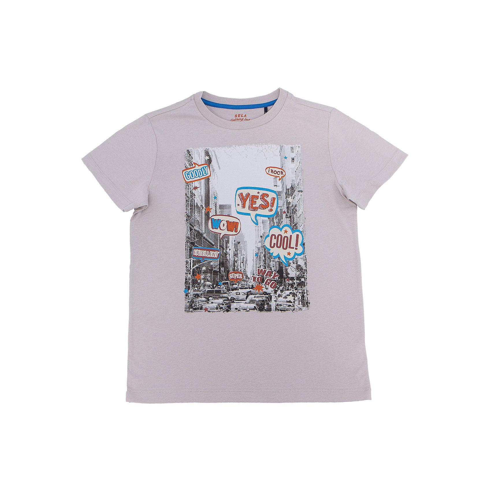 Футболка для мальчика SELAФутболки, поло и топы<br>Характеристики товара:<br><br>• цвет: серый<br>• состав: 100% хлопок<br>• принт<br>• короткие рукава<br>• округлый горловой вырез<br>• коллекция весна-лето 2017<br>• страна бренда: Российская Федерация<br><br>В новой коллекции SELA отличные модели одежды! Эта футболка для мальчика поможет разнообразить гардероб ребенка и обеспечить комфорт. Она отлично сочетается с джинсами и брюками. В составе ткани -только дышащий гипоаллергенный хлопок!<br><br>Одежда, обувь и аксессуары от российского бренда SELA не зря пользуются большой популярностью у детей и взрослых! Модели этой марки - стильные и удобные, цена при этом неизменно остается доступной. Для их производства используются только безопасные, качественные материалы и фурнитура. Новая коллекция поддерживает хорошие традиции бренда! <br><br>Футболку для мальчика от популярного бренда SELA (СЕЛА) можно купить в нашем интернет-магазине.<br><br>Ширина мм: 230<br>Глубина мм: 40<br>Высота мм: 220<br>Вес г: 250<br>Цвет: серый<br>Возраст от месяцев: 108<br>Возраст до месяцев: 120<br>Пол: Мужской<br>Возраст: Детский<br>Размер: 140,134,128,122,116,152,146<br>SKU: 5304057