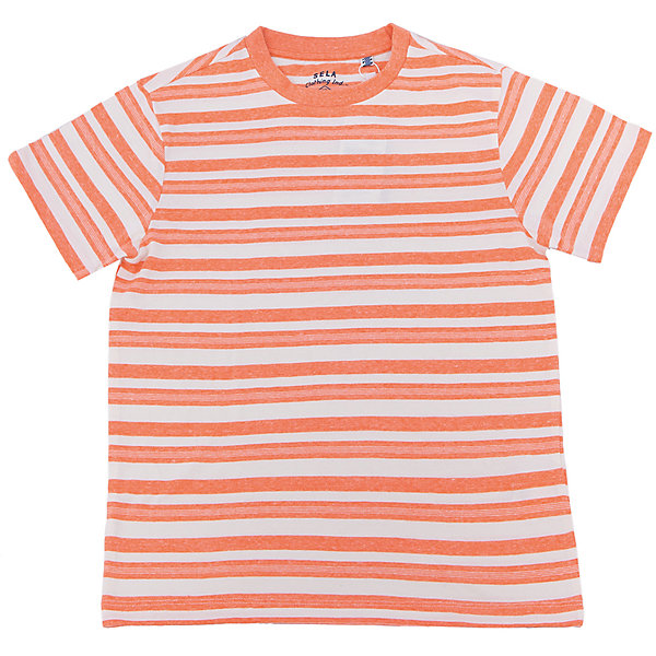 Футболка  для мальчика SELAФутболки, поло и топы<br>Характеристики товара:<br><br>• цвет: желтый<br>• состав: 100% хлопок<br>• принт<br>• короткие рукава<br>• округлый горловой вырез<br>• страна бренда: Российская Федерация<br><br>В новой коллекции SELA отличные модели одежды! Эта футболка для мальчика поможет разнообразить гардероб ребенка и обеспечить комфорт. Она отлично сочетается с джинсами и брюками. Удобная базовая вещь!<br><br>Футболку для мальчика от популярного бренда SELA (СЕЛА) можно купить в нашем интернет-магазине.<br><br>Ширина мм: 230<br>Глубина мм: 40<br>Высота мм: 220<br>Вес г: 250<br>Цвет: оранжевый<br>Возраст от месяцев: 84<br>Возраст до месяцев: 96<br>Пол: Мужской<br>Возраст: Детский<br>Размер: 128,122,116,152,146,140,134<br>SKU: 5304065
