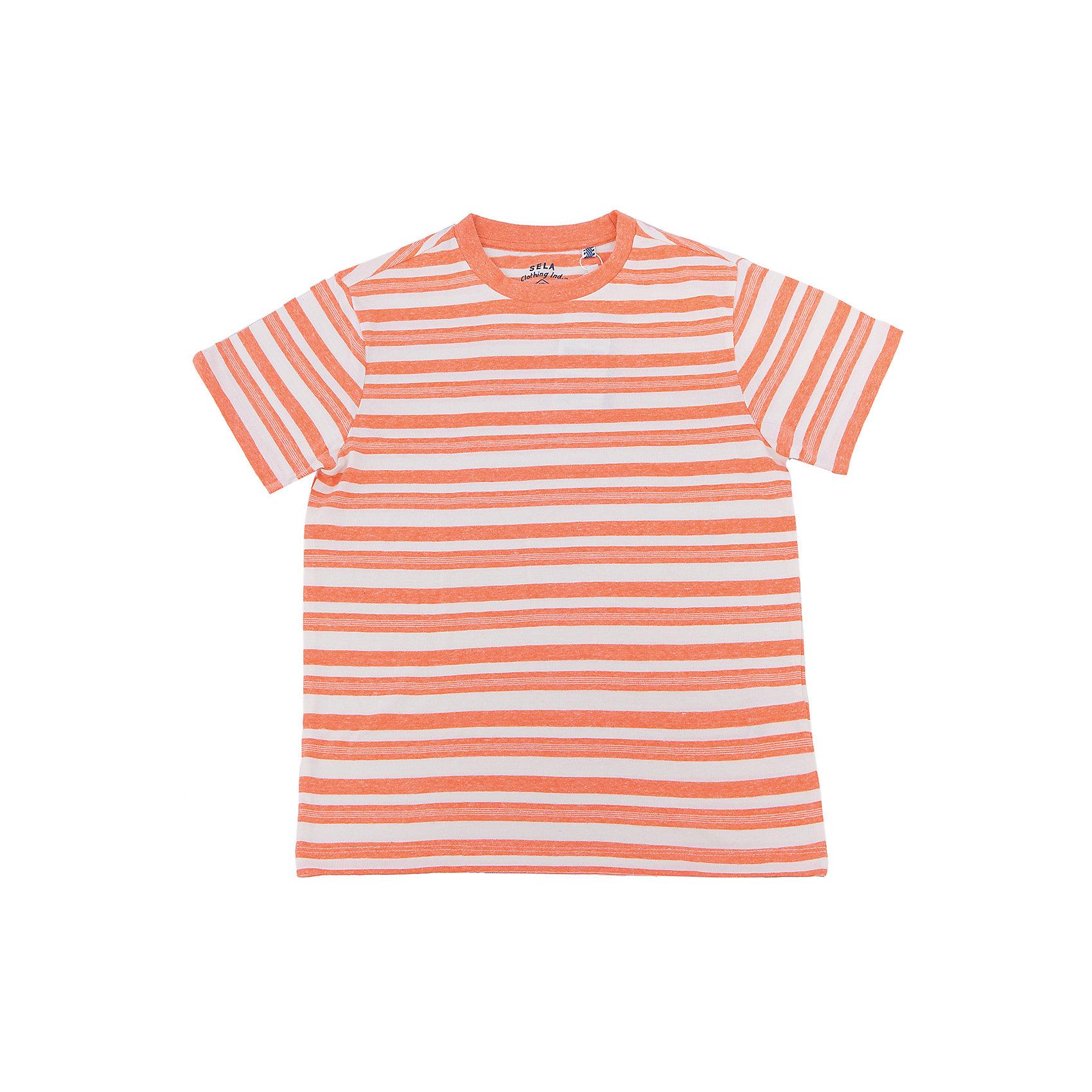 Футболка  для мальчика SELAФутболки, поло и топы<br>Характеристики товара:<br><br>• цвет: желтый<br>• состав: 100% хлопок<br>• принт<br>• короткие рукава<br>• округлый горловой вырез<br>• страна бренда: Российская Федерация<br><br>В новой коллекции SELA отличные модели одежды! Эта футболка для мальчика поможет разнообразить гардероб ребенка и обеспечить комфорт. Она отлично сочетается с джинсами и брюками. Удобная базовая вещь!<br><br>Футболку для мальчика от популярного бренда SELA (СЕЛА) можно купить в нашем интернет-магазине.<br><br>Ширина мм: 230<br>Глубина мм: 40<br>Высота мм: 220<br>Вес г: 250<br>Цвет: оранжевый<br>Возраст от месяцев: 132<br>Возраст до месяцев: 144<br>Пол: Мужской<br>Возраст: Детский<br>Размер: 152,116,122,128,134,140,146<br>SKU: 5304065