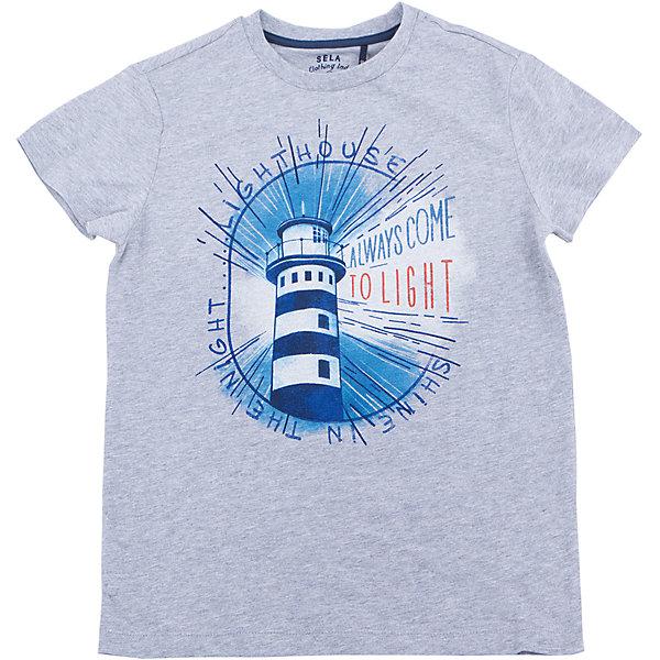Футболка для мальчика SELAФутболки, поло и топы<br>Характеристики товара:<br><br>• состав: 100% хлопок<br>• сезон: лето<br>• рукава короткие<br>• округлый горловой вырез<br>• страна бренда: Россия<br><br>Вещи из новой коллекции SELA продолжают радовать удобством! Эта футболка для мальчика поможет разнообразить гардероб ребенка и обеспечить комфорт. Она отлично сочетается с шортами и брюками. Стильная и удобная вещь!<br><br>Одежда, обувь и аксессуары от российского бренда SELA не зря пользуются большой популярностью у детей и взрослых!<br><br>Футболку для мальчика от популярного бренда SELA (СЕЛА) можно купить в нашем интернет-магазине.<br>Ширина мм: 230; Глубина мм: 40; Высота мм: 220; Вес г: 250; Цвет: серый; Возраст от месяцев: 132; Возраст до месяцев: 144; Пол: Мужской; Возраст: Детский; Размер: 152,140,134,128,122,146; SKU: 5304095;