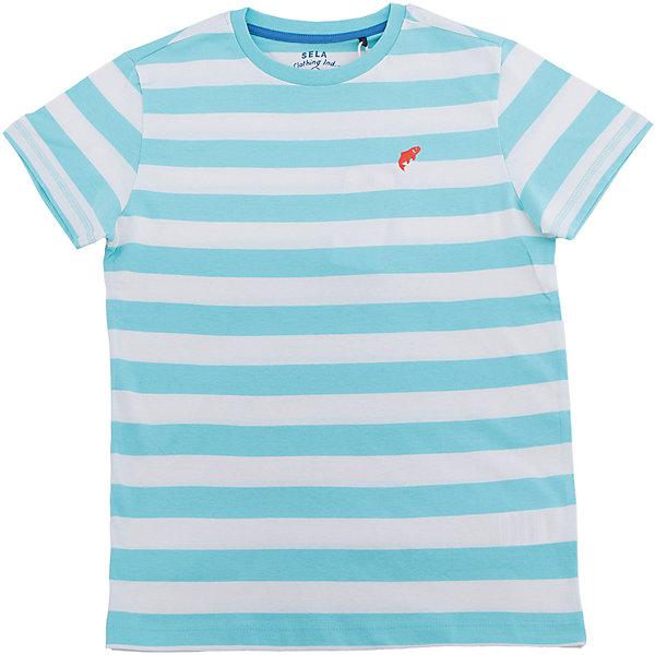 Футболка для мальчика SELAФутболки, поло и топы<br>Характеристики товара:<br><br>• цвет: голубой в полоску<br>• состав: 100% хлопок<br>• сезон: лето<br>• рукава короткие<br>• округлый горловой вырез<br>• страна бренда: Россия<br><br>Вещи из новой коллекции SELA продолжают радовать удобством! Эта футболка для мальчика поможет разнообразить гардероб ребенка и обеспечить комфорт. Она отлично сочетается с шортами и брюками. Стильная и удобная вещь!<br><br>Футболку для мальчика от популярного бренда SELA (СЕЛА) можно купить в нашем интернет-магазине.<br><br>Ширина мм: 230<br>Глубина мм: 40<br>Высота мм: 220<br>Вес г: 250<br>Цвет: голубой<br>Возраст от месяцев: 108<br>Возраст до месяцев: 120<br>Пол: Мужской<br>Возраст: Детский<br>Размер: 140,134,128,122,152,146<br>SKU: 5304109