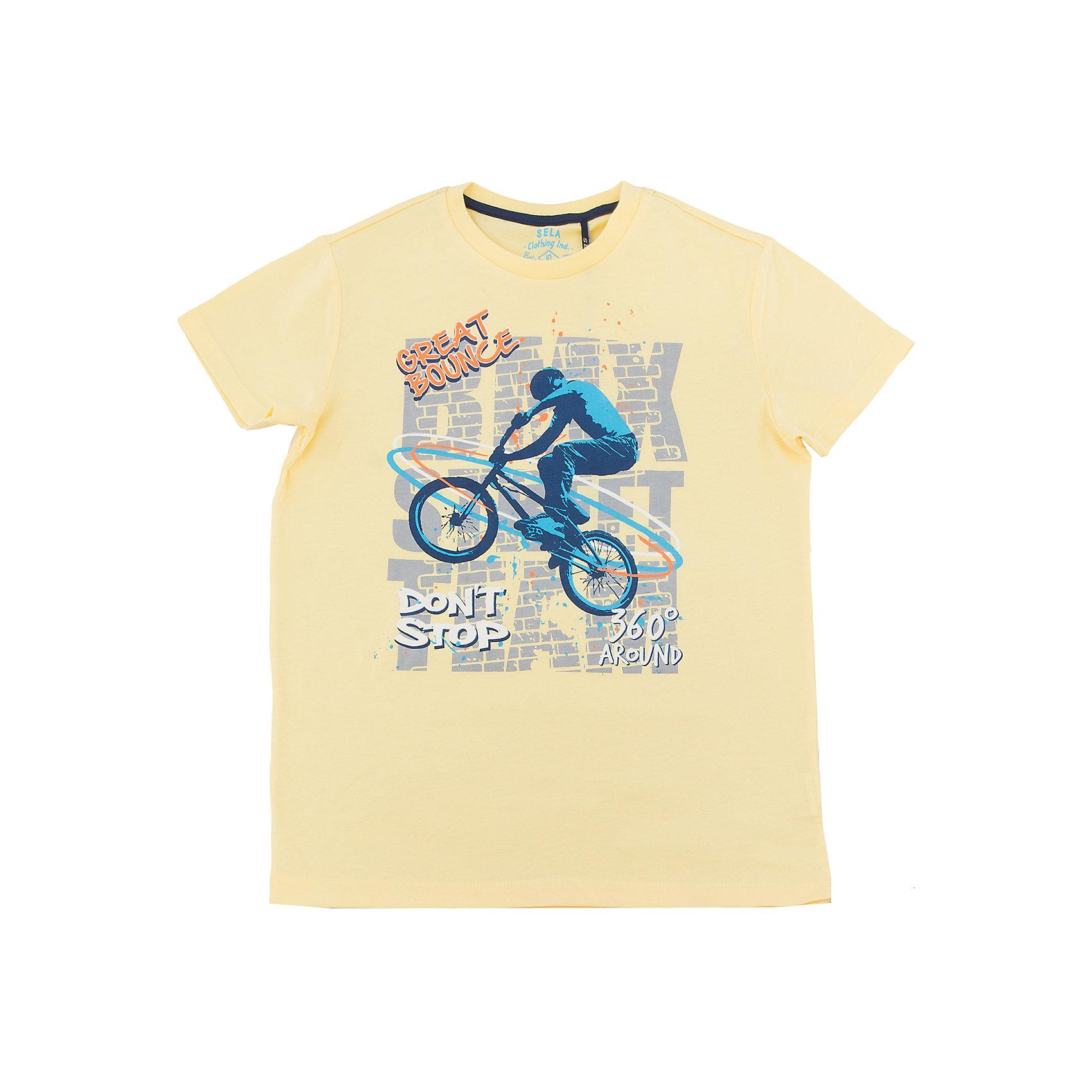 Футболка  для мальчика SELAХарактеристики товара:<br><br>• цвет: желтый<br>• состав: 100% хлопок<br>• принт<br>• короткие рукава<br>• округлый горловой вырез<br>• коллекция весна-лето 2017<br>• страна бренда: Российская Федерация<br><br>В новой коллекции SELA отличные модели одежды! Эта футболка для мальчика поможет разнообразить гардероб ребенка и обеспечить комфорт. Она отлично сочетается с джинсами и брюками. В составе ткани -только дышащий гипоаллергенный хлопок!<br><br>Одежда, обувь и аксессуары от российского бренда SELA не зря пользуются большой популярностью у детей и взрослых! Модели этой марки - стильные и удобные, цена при этом неизменно остается доступной. Для их производства используются только безопасные, качественные материалы и фурнитура. Новая коллекция поддерживает хорошие традиции бренда! <br><br>Футболку для мальчика от популярного бренда SELA (СЕЛА) можно купить в нашем интернет-магазине.<br><br>Ширина мм: 230<br>Глубина мм: 40<br>Высота мм: 220<br>Вес г: 250<br>Цвет: желтый<br>Возраст от месяцев: 96<br>Возраст до месяцев: 108<br>Пол: Мужской<br>Возраст: Детский<br>Размер: 134,140,146,152,116,122,128<br>SKU: 5304152
