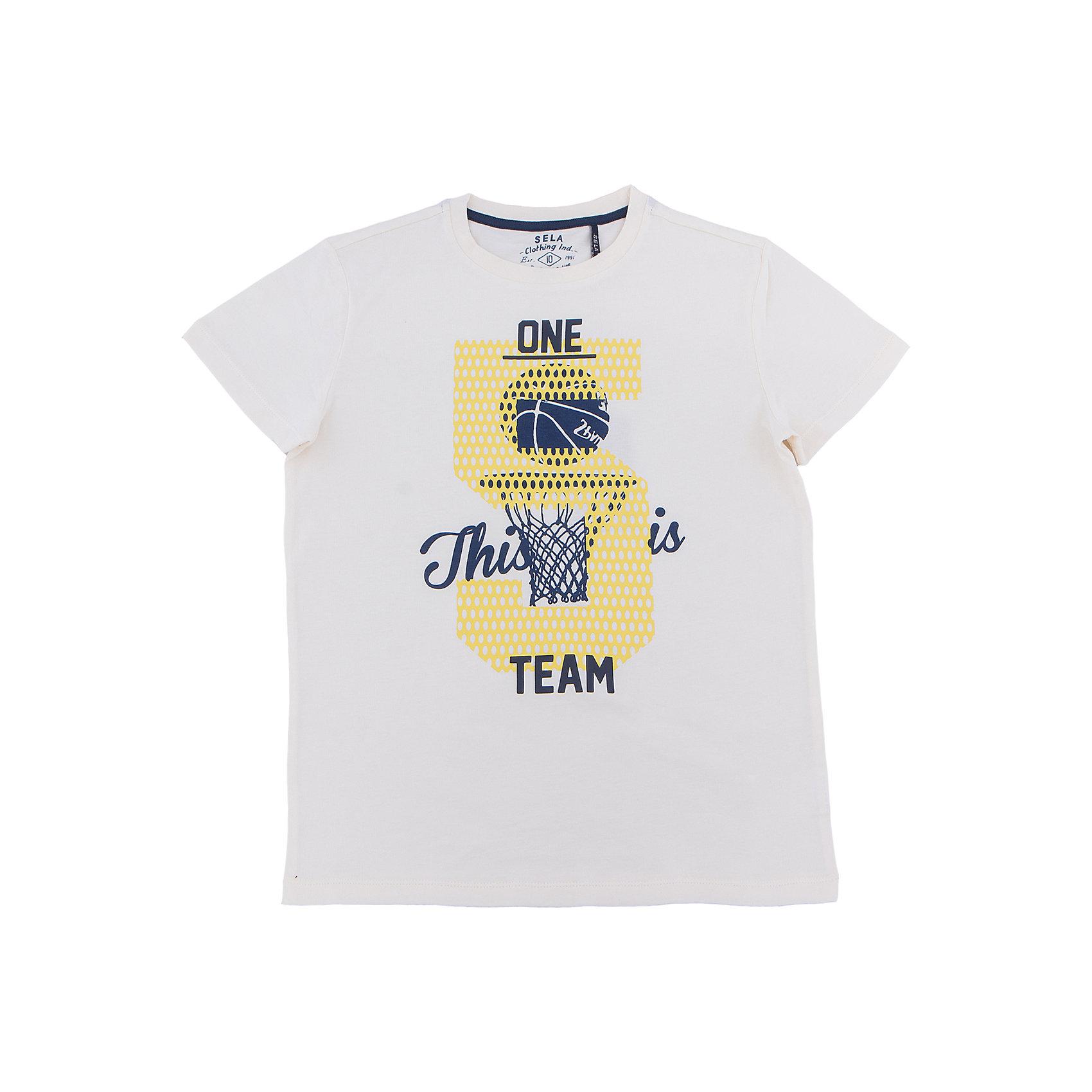 Футболка  для мальчика SELAХарактеристики товара:<br><br>• цвет: серый<br>• состав: 100% хлопок<br>• принт<br>• короткие рукава<br>• округлый горловой вырез<br>• коллекция весна-лето 2017<br>• страна бренда: Российская Федерация<br><br>В новой коллекции SELA отличные модели одежды! Эта футболка для мальчика поможет разнообразить гардероб ребенка и обеспечить комфорт. Она отлично сочетается с джинсами и брюками. В составе ткани -только дышащий гипоаллергенный хлопок!<br><br>Одежда, обувь и аксессуары от российского бренда SELA не зря пользуются большой популярностью у детей и взрослых! Модели этой марки - стильные и удобные, цена при этом неизменно остается доступной. Для их производства используются только безопасные, качественные материалы и фурнитура. Новая коллекция поддерживает хорошие традиции бренда! <br><br>Футболку для мальчика от популярного бренда SELA (СЕЛА) можно купить в нашем интернет-магазине.<br><br>Ширина мм: 230<br>Глубина мм: 40<br>Высота мм: 220<br>Вес г: 250<br>Цвет: серый<br>Возраст от месяцев: 96<br>Возраст до месяцев: 108<br>Пол: Мужской<br>Возраст: Детский<br>Размер: 116,140,146,152,122,128,134<br>SKU: 5304160