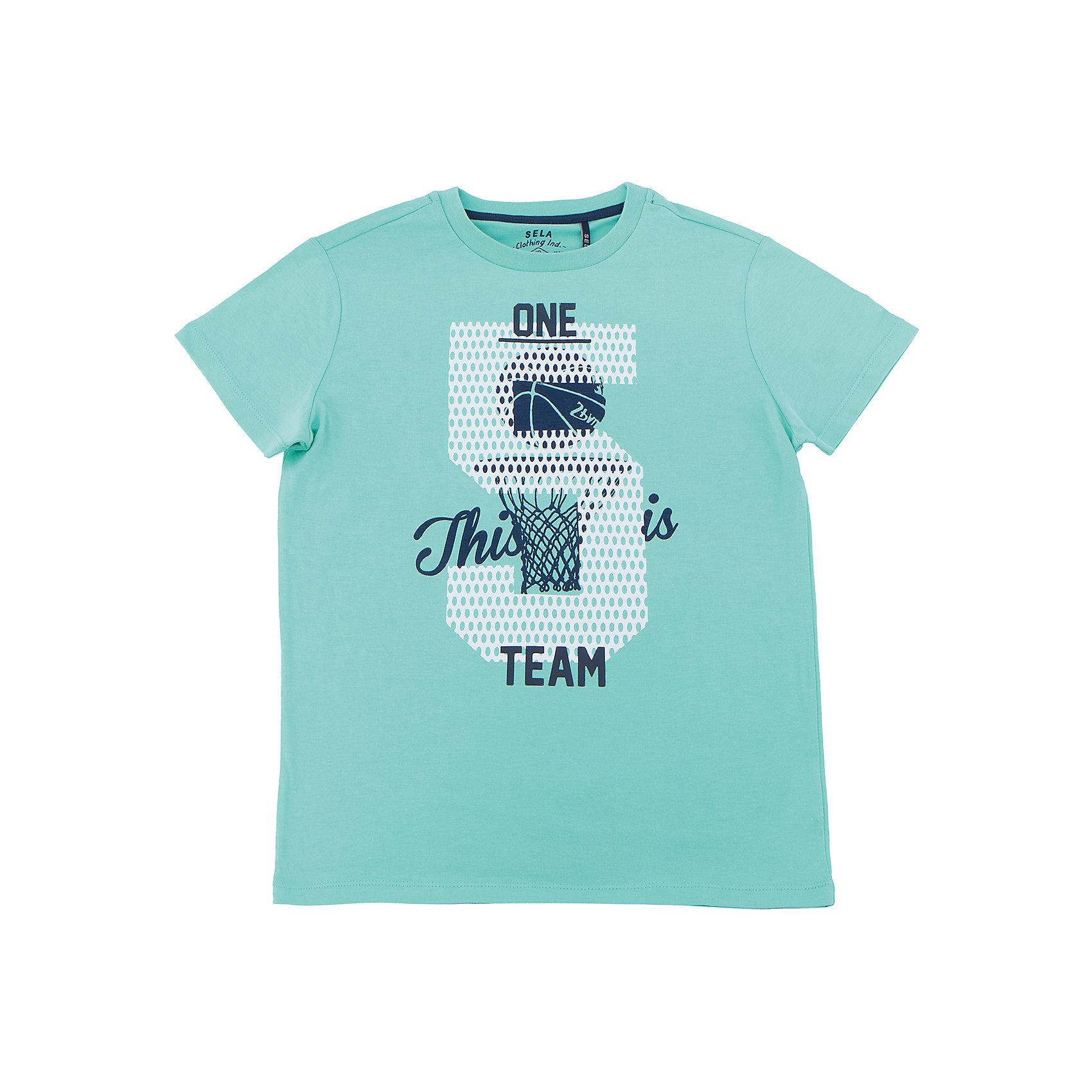 Футболка  для мальчика SELAХарактеристики товара:<br><br>• цвет: зеленый<br>• состав: 100% хлопок<br>• принт<br>• короткие рукава<br>• округлый горловой вырез<br>• коллекция весна-лето 2017<br>• страна бренда: Российская Федерация<br><br>В новой коллекции SELA отличные модели одежды! Эта футболка для мальчика поможет разнообразить гардероб ребенка и обеспечить комфорт. Она отлично сочетается с джинсами и брюками. В составе ткани -только дышащий гипоаллергенный хлопок!<br><br>Одежда, обувь и аксессуары от российского бренда SELA не зря пользуются большой популярностью у детей и взрослых! Модели этой марки - стильные и удобные, цена при этом неизменно остается доступной. Для их производства используются только безопасные, качественные материалы и фурнитура. Новая коллекция поддерживает хорошие традиции бренда! <br><br>Футболку для мальчика от популярного бренда SELA (СЕЛА) можно купить в нашем интернет-магазине.<br><br>Ширина мм: 230<br>Глубина мм: 40<br>Высота мм: 220<br>Вес г: 250<br>Цвет: зеленый<br>Возраст от месяцев: 108<br>Возраст до месяцев: 120<br>Пол: Мужской<br>Возраст: Детский<br>Размер: 140,134,146,152,116,122,128<br>SKU: 5304168