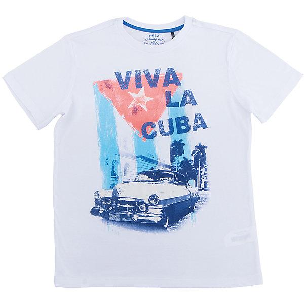 Футболка  для мальчика SELAФутболки, поло и топы<br>Характеристики товара:<br><br>• состав: 100% хлопок<br>• декорирована принтом<br>• сезон: лето<br>• рукава короткие<br>• округлый горловой вырез<br>• страна бренда: Россия<br><br>Вещи из новой коллекции SELA продолжают радовать удобством! Эта футболка для мальчика поможет разнообразить гардероб ребенка. Она отлично сочетается с шортами и брюками.<br><br>Одежда, обувь и аксессуары от российского бренда SELA не зря пользуются большой популярностью у детей и взрослых! Модели этой марки - стильные и удобные, цена при этом неизменно остается доступной.<br><br>Футболку для мальчика от популярного бренда SELA (СЕЛА) можно купить в нашем интернет-магазине.<br><br>Ширина мм: 230<br>Глубина мм: 40<br>Высота мм: 220<br>Вес г: 250<br>Цвет: серый<br>Возраст от месяцев: 72<br>Возраст до месяцев: 84<br>Пол: Мужской<br>Возраст: Детский<br>Размер: 122,128,152,146,140,134<br>SKU: 5304183