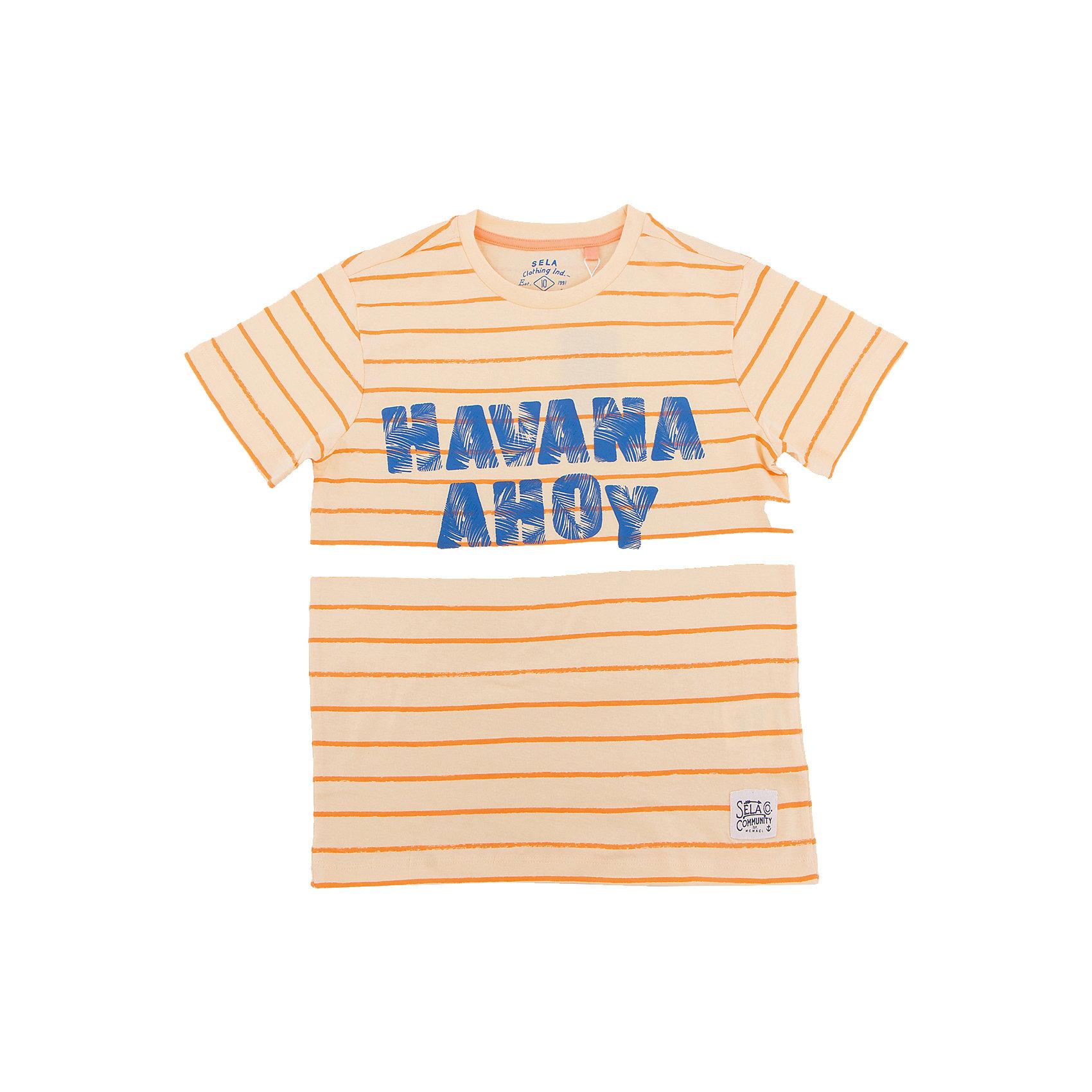 Футболка для мальчика SELAФутболки, поло и топы<br>Характеристики товара:<br><br>• состав: 100% хлопок<br>• декорирована принтом<br>• сезон: лето<br>• рукава короткие<br>• округлый горловой вырез<br>• страна бренда: Россия<br><br>Вещи из новой коллекции SELA продолжают радовать удобством! Эта футболка для мальчика поможет разнообразить гардероб ребенка и обеспечить комфорт. Она отлично сочетается с шортами и брюками. Стильная и удобная вещь!<br><br>Одежда, обувь и аксессуары от российского бренда SELA не зря пользуются большой популярностью у детей и взрослых! <br><br>Футболку для мальчика от популярного бренда SELA (СЕЛА) можно купить в нашем интернет-магазине.<br><br>Ширина мм: 230<br>Глубина мм: 40<br>Высота мм: 220<br>Вес г: 250<br>Цвет: желтый<br>Возраст от месяцев: 108<br>Возраст до месяцев: 120<br>Пол: Мужской<br>Возраст: Детский<br>Размер: 140,134,146,152,122,128<br>SKU: 5304190