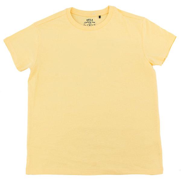 Футболка для мальчика SELAФутболки, поло и топы<br>Характеристики товара:<br><br>• цвет: желтый<br>• состав: 100% хлопок<br>• однотонная<br>• короткие рукава<br>• округлый горловой вырез<br>• коллекция весна-лето 2017<br>• страна бренда: Российская Федерация<br><br>В новой коллекции SELA отличные модели одежды! Эта футболка для мальчика поможет разнообразить гардероб ребенка и обеспечить комфорт. Она отлично сочетается с джинсами и брюками. Удобная базовая вещь!<br><br>Одежда, обувь и аксессуары от российского бренда SELA не зря пользуются большой популярностью у детей и взрослых! Модели этой марки - стильные и удобные, цена при этом неизменно остается доступной. Для их производства используются только безопасные, качественные материалы и фурнитура. Новая коллекция поддерживает хорошие традиции бренда! <br><br>Футболку для мальчика от популярного бренда SELA (СЕЛА) можно купить в нашем интернет-магазине.<br><br>Ширина мм: 230<br>Глубина мм: 40<br>Высота мм: 220<br>Вес г: 250<br>Цвет: желтый<br>Возраст от месяцев: 132<br>Возраст до месяцев: 144<br>Пол: Мужской<br>Возраст: Детский<br>Размер: 152,128,122,116,146,140,134<br>SKU: 5304303