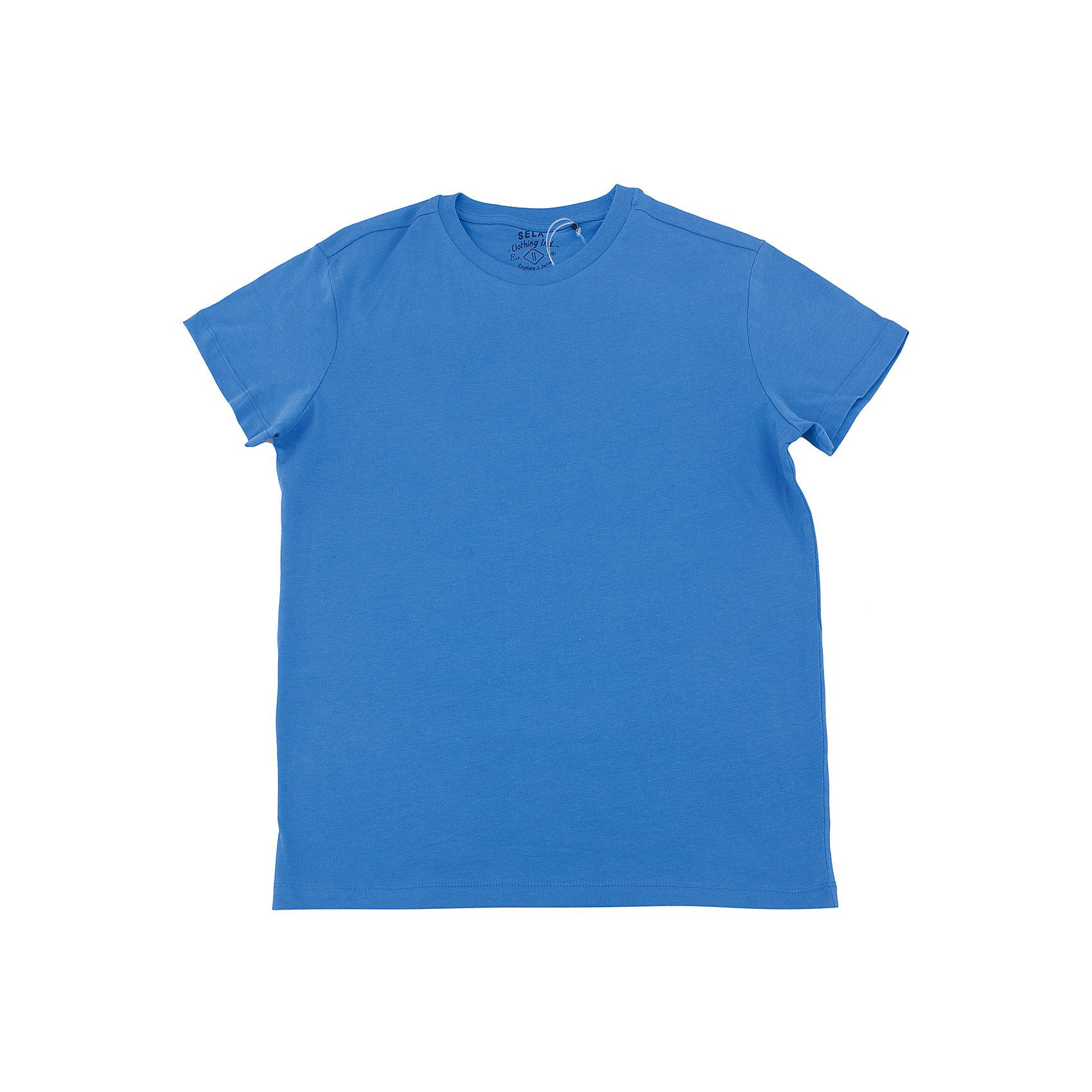 Футболка  мальчика SELAФутболки, поло и топы<br>Характеристики товара:<br><br>• цвет: синий<br>• состав: 100% хлопок<br>• однотонная<br>• короткие рукава<br>• округлый горловой вырез<br>• коллекция весна-лето 2017<br>• страна бренда: Российская Федерация<br><br>В новой коллекции SELA отличные модели одежды! Эта футболка для мальчика поможет разнообразить гардероб ребенка и обеспечить комфорт. Она отлично сочетается с джинсами и брюками. Удобная базовая вещь!<br><br>Одежда, обувь и аксессуары от российского бренда SELA не зря пользуются большой популярностью у детей и взрослых! Модели этой марки - стильные и удобные, цена при этом неизменно остается доступной. Для их производства используются только безопасные, качественные материалы и фурнитура. Новая коллекция поддерживает хорошие традиции бренда! <br><br>Футболку для мальчика от популярного бренда SELA (СЕЛА) можно купить в нашем интернет-магазине.<br><br>Ширина мм: 230<br>Глубина мм: 40<br>Высота мм: 220<br>Вес г: 250<br>Цвет: синий<br>Возраст от месяцев: 108<br>Возраст до месяцев: 120<br>Пол: Мужской<br>Возраст: Детский<br>Размер: 152,116,122,128,134,140,146<br>SKU: 5304319