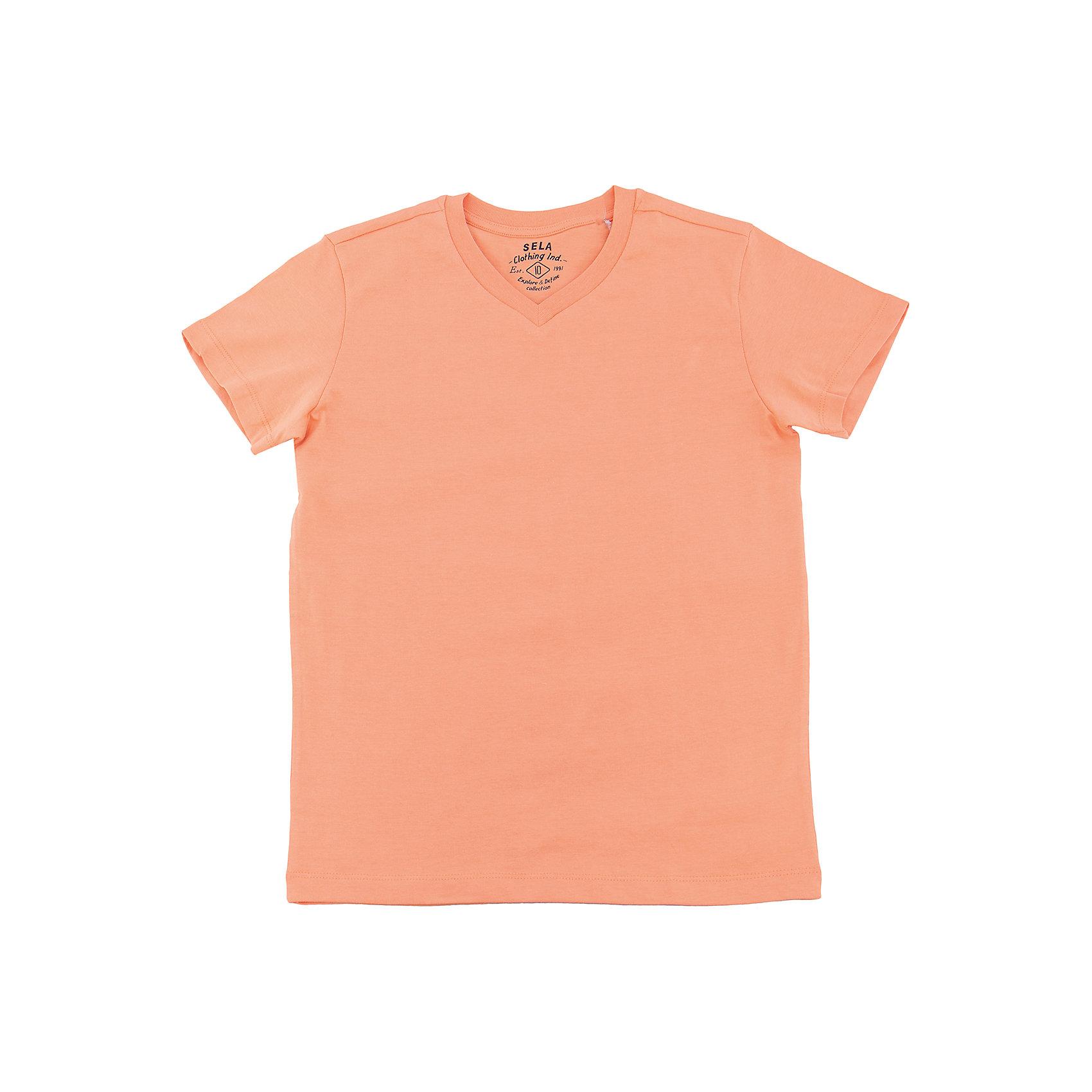 Футболка  для мальчика SELAХарактеристики товара:<br><br>• цвет: оранжевый<br>• состав: 100% хлопок<br>• однотонная<br>• короткие рукава<br>• V-образный горловой вырез<br>• коллекция весна-лето 2017<br>• страна бренда: Российская Федерация<br><br>В новой коллекции SELA отличные модели одежды! Эта футболка для мальчика поможет разнообразить гардероб ребенка и обеспечить комфорт. Она отлично сочетается с джинсами и брюками. Удобная базовая вещь!<br><br>Одежда, обувь и аксессуары от российского бренда SELA не зря пользуются большой популярностью у детей и взрослых! Модели этой марки - стильные и удобные, цена при этом неизменно остается доступной. Для их производства используются только безопасные, качественные материалы и фурнитура. Новая коллекция поддерживает хорошие традиции бренда! <br><br>Футболку для мальчика от популярного бренда SELA (СЕЛА) можно купить в нашем интернет-магазине.<br><br>Ширина мм: 230<br>Глубина мм: 40<br>Высота мм: 220<br>Вес г: 250<br>Цвет: оранжевый<br>Возраст от месяцев: 96<br>Возраст до месяцев: 108<br>Пол: Мужской<br>Возраст: Детский<br>Размер: 134,140,146,152,116,122,128<br>SKU: 5304343